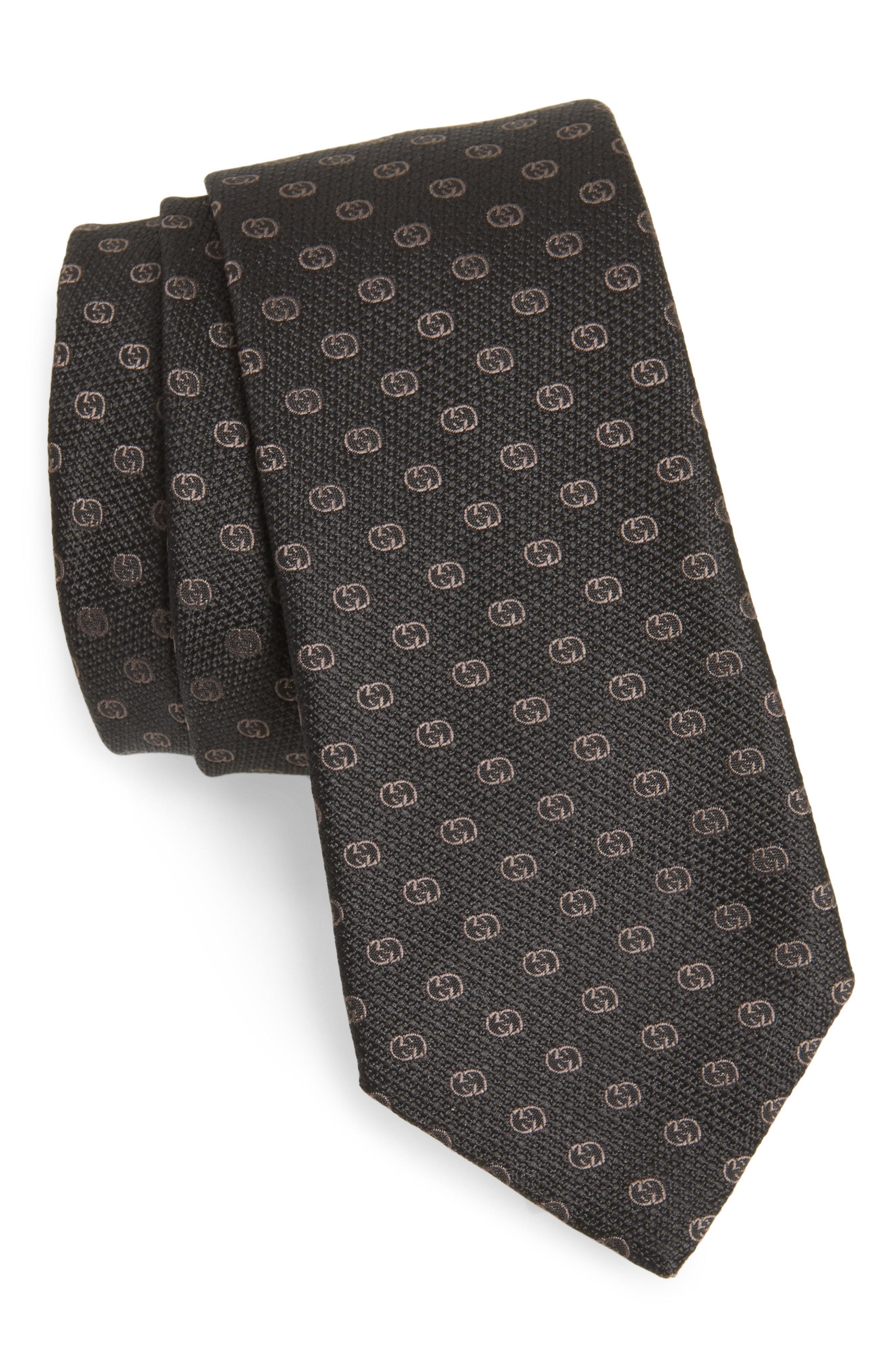 7ede6805665 Lyst - Gucci Gg Tinev Silk Jacquard Tie in Gray for Men