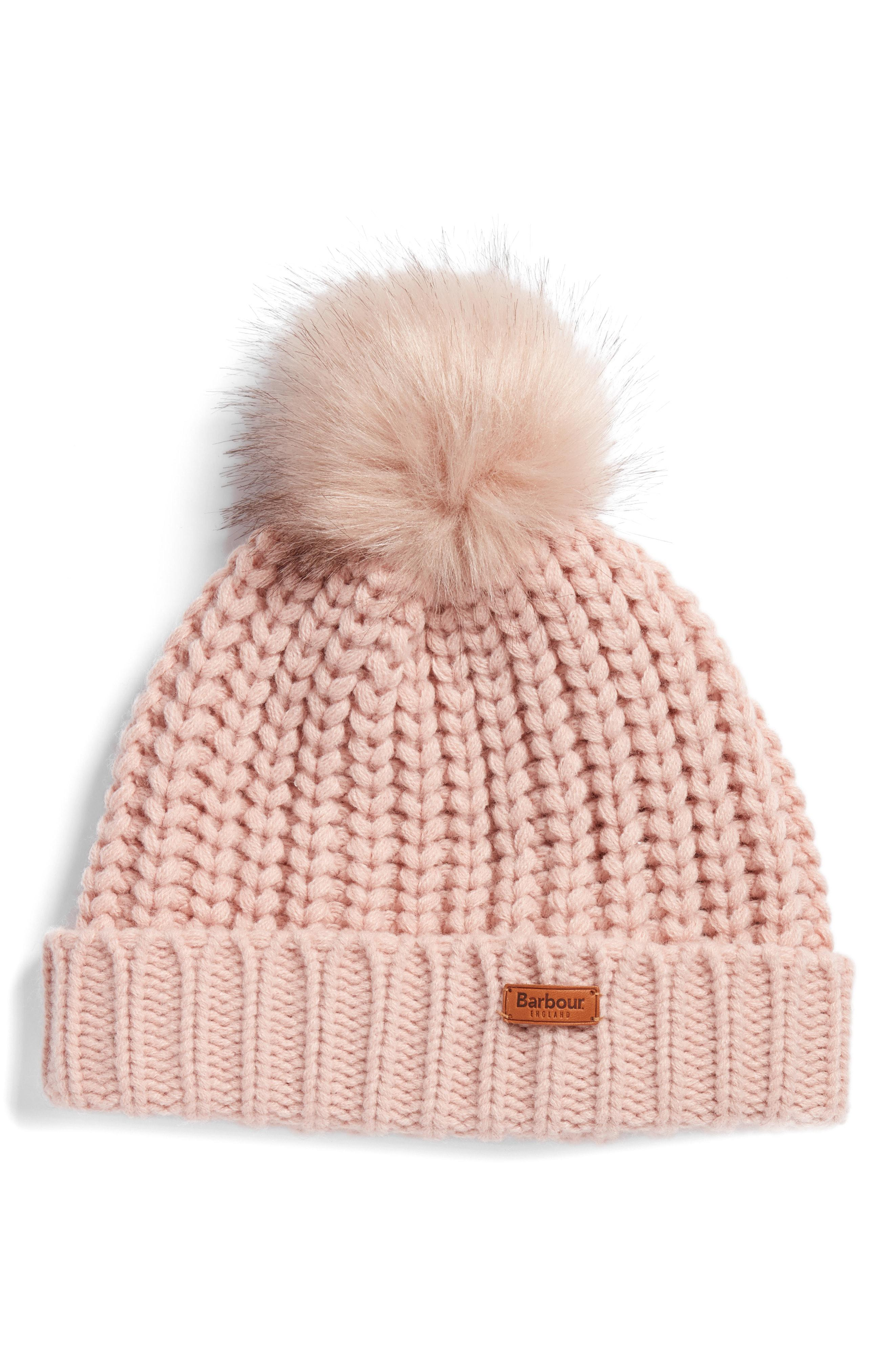 148267c02 Lyst - Barbour Saltburn Beanie With Faux Fur Pom - in Natural