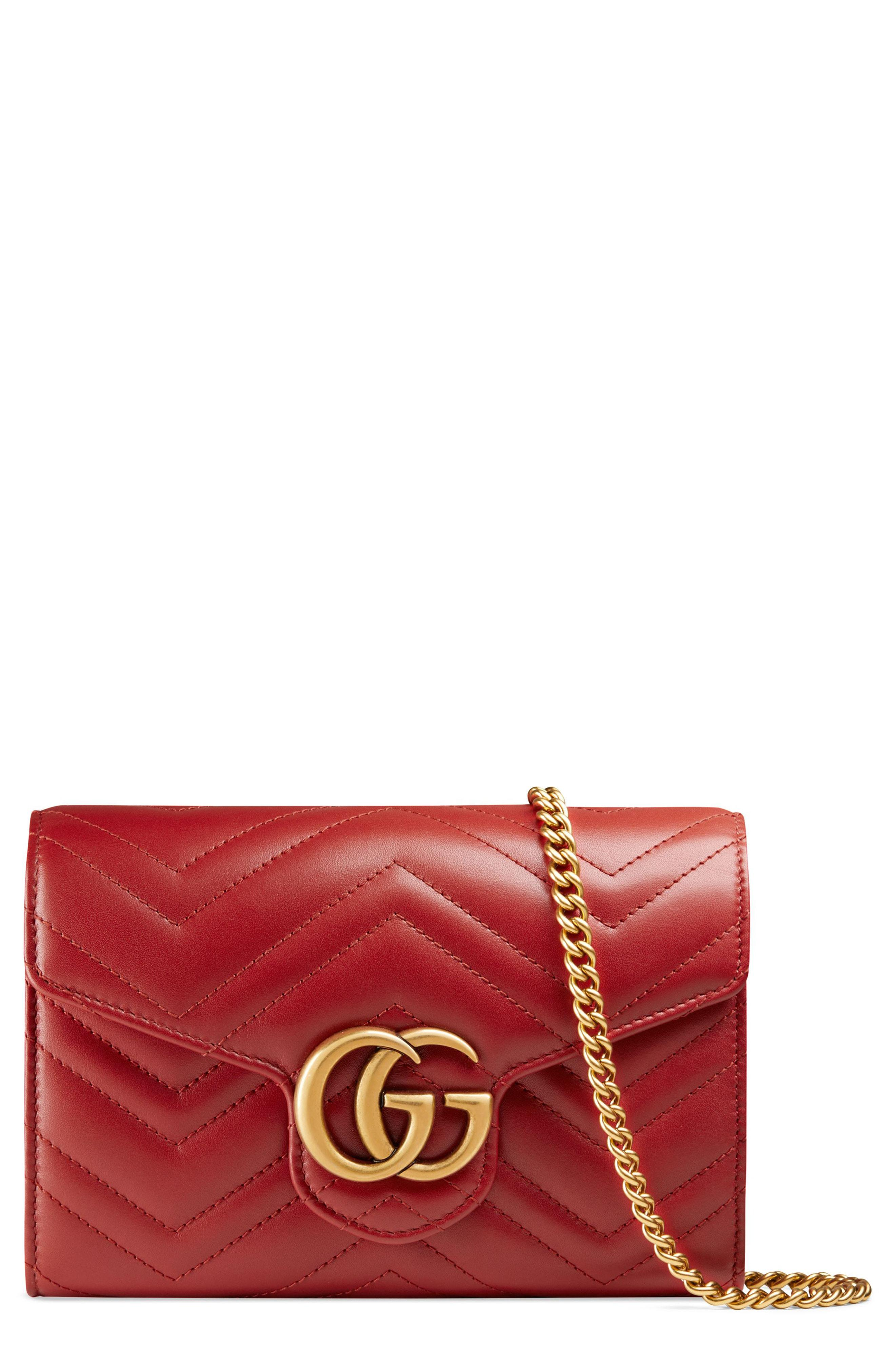 03725e842c2 Lyst - Gucci Gg Marmont Matelasse Leather Wallet On A Chain in Red