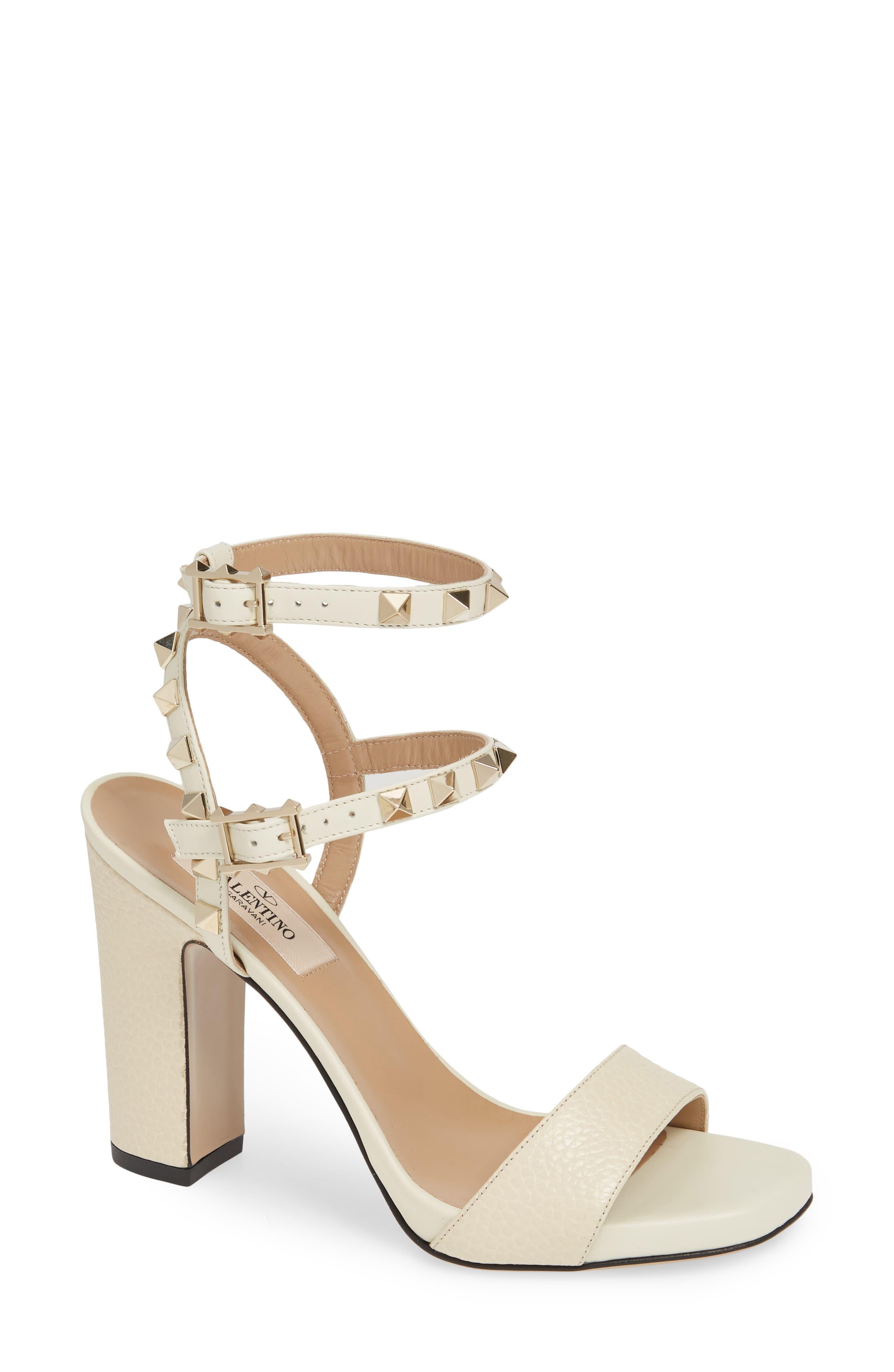 Rockstud Ankle Strap Block Sandal