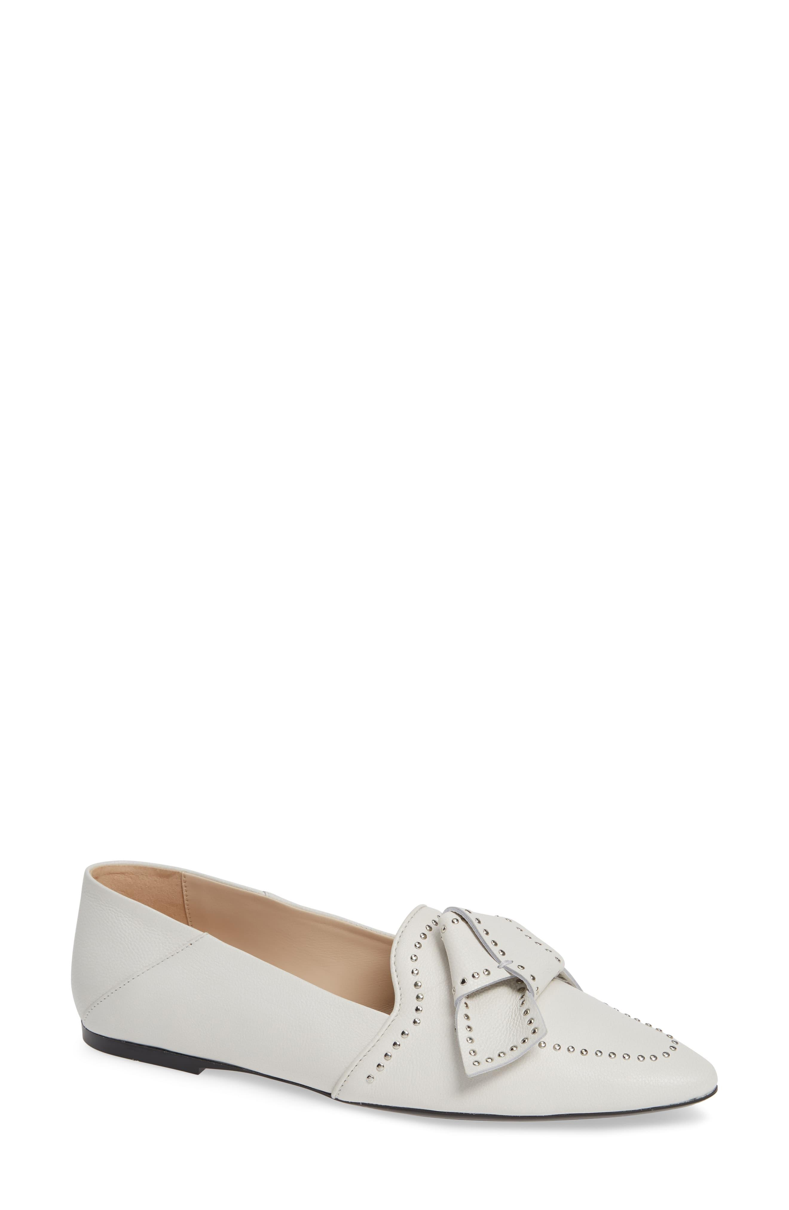 Tod's Leather Studded Bow Loafer in