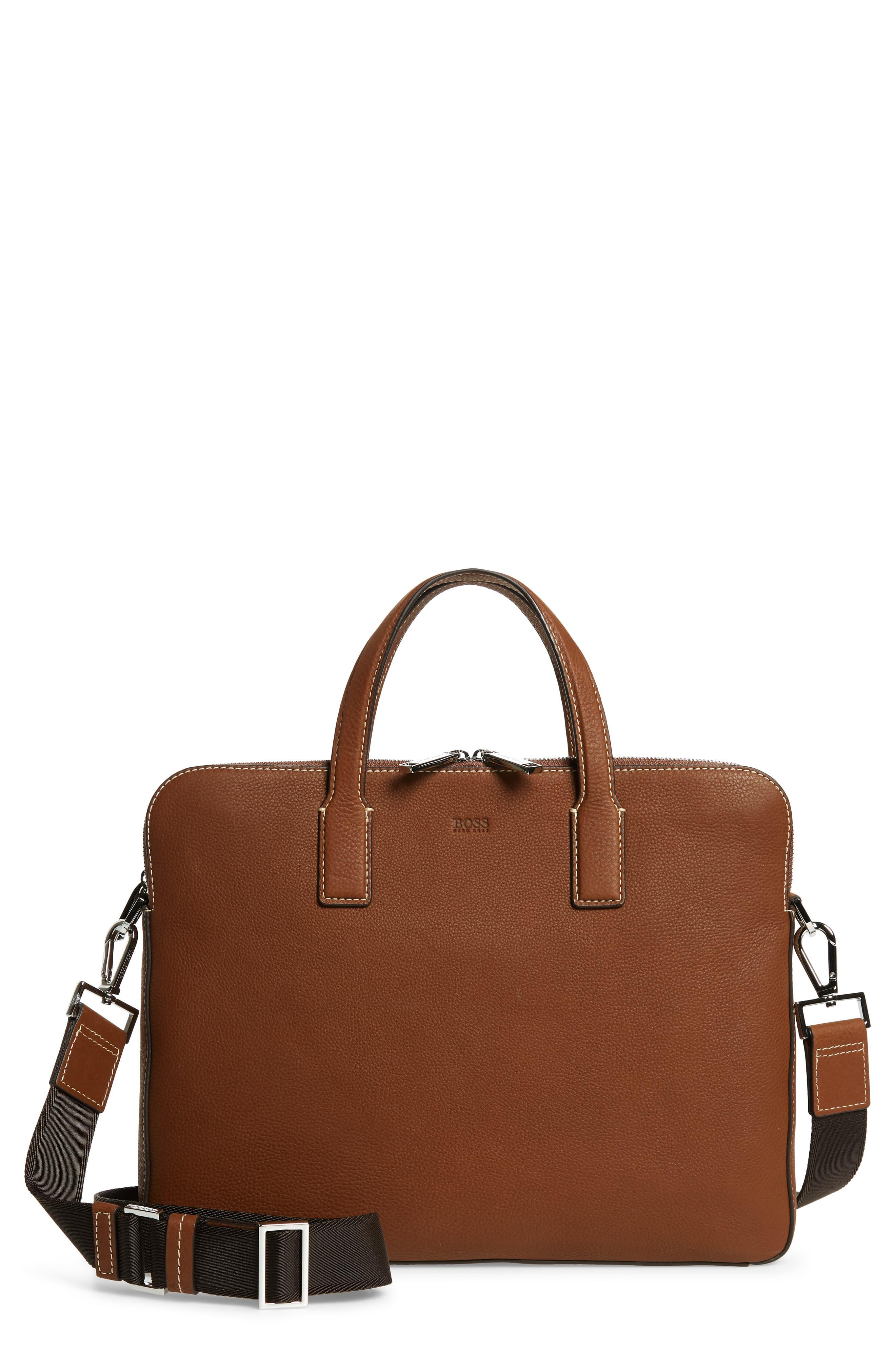 e0ec04bbd0 Brown Zipped Document Case In Italian Leather With Contrast Stitching