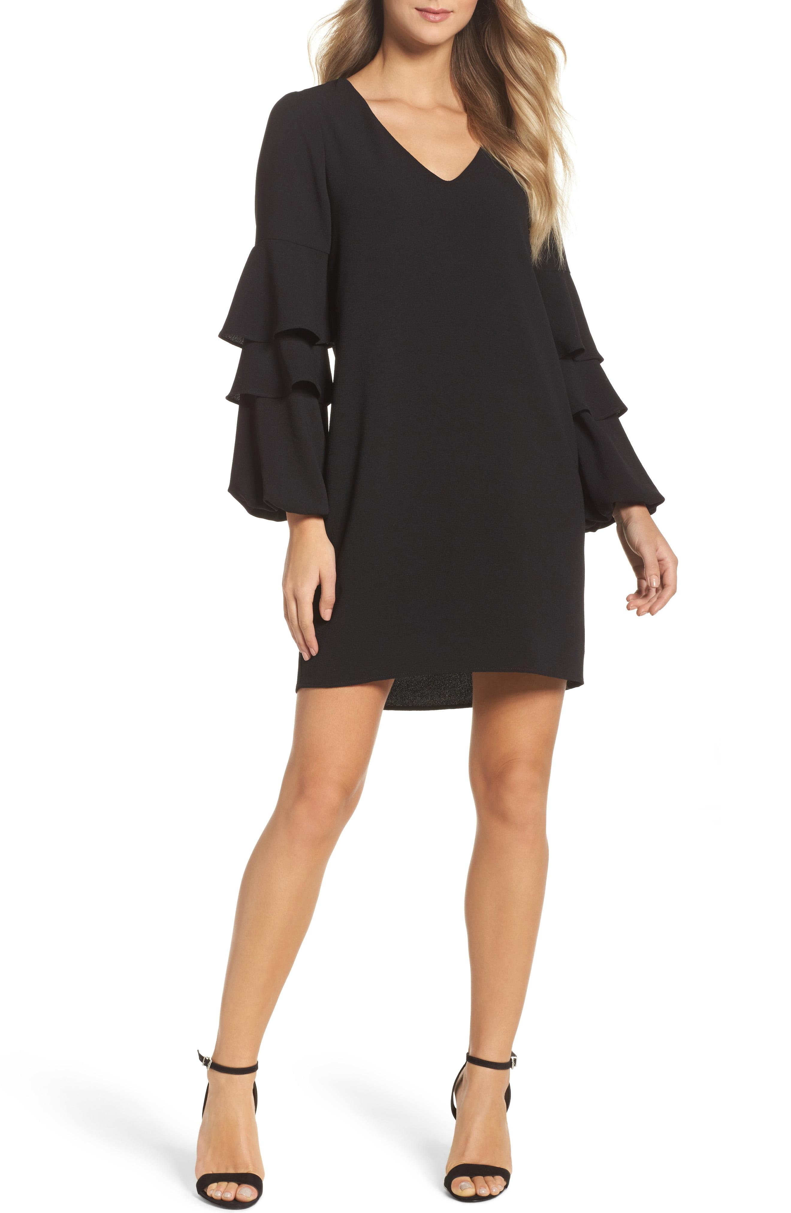 c84a7f1a6a51 Lyst - Charles Henry Tiered Ruffle Sleeve Shift Dress in Black ...