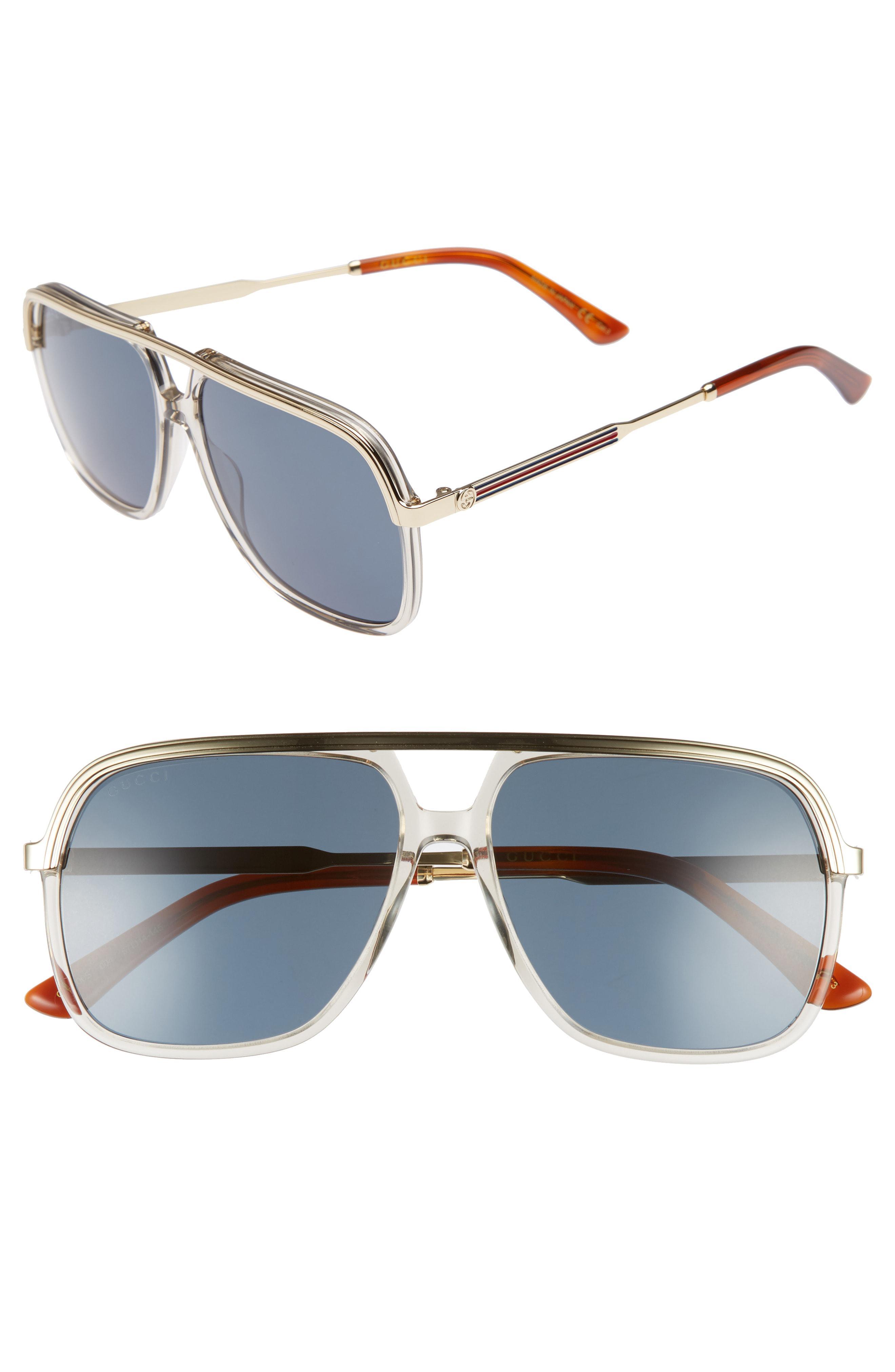5d909c9d99 Lyst - Gucci 57mm Aviator Sunglasses - Mustard  Endura Gold in ...