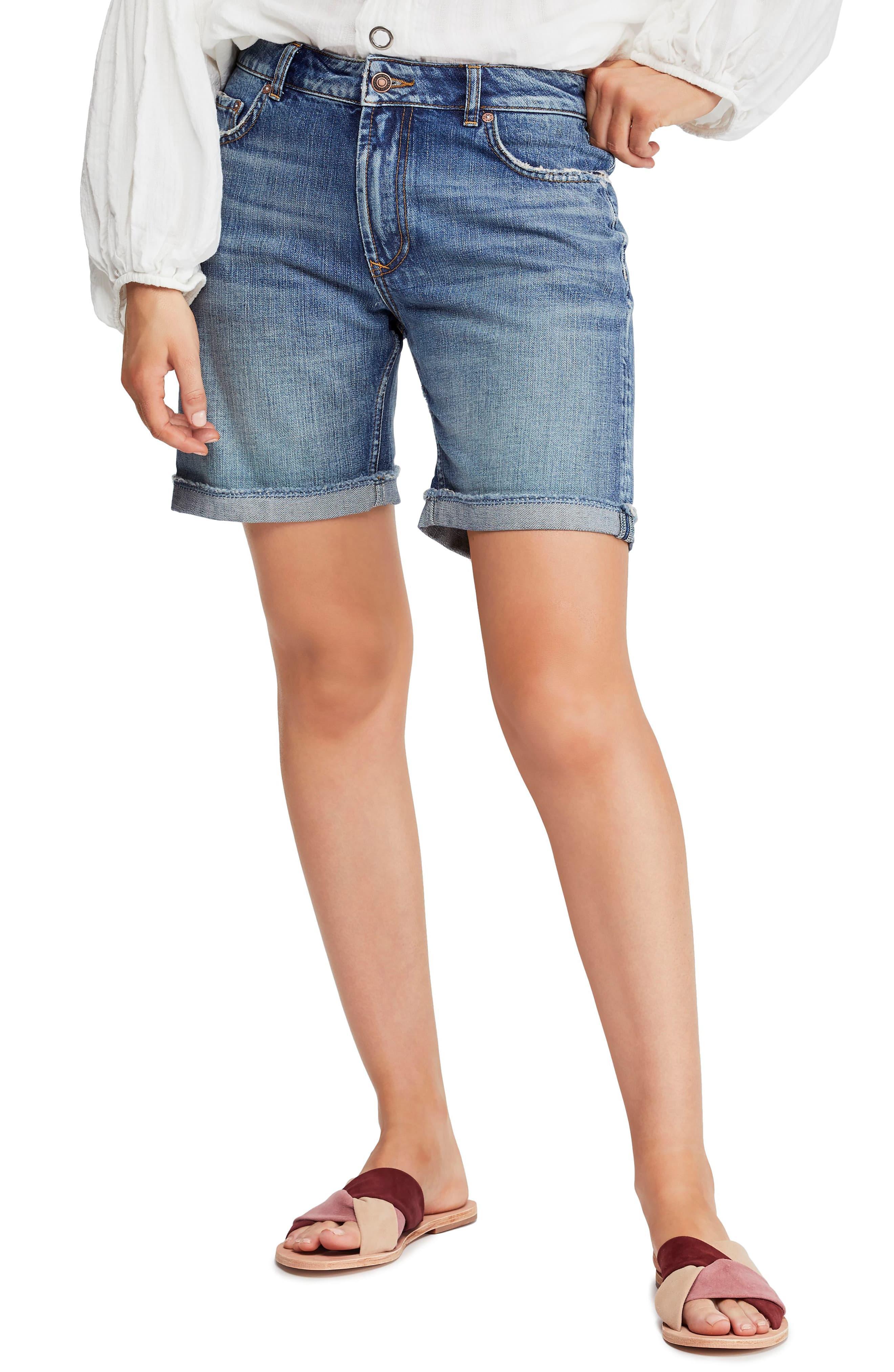 db201224 Free People Ivy Long Denim Shorts in Blue - Lyst