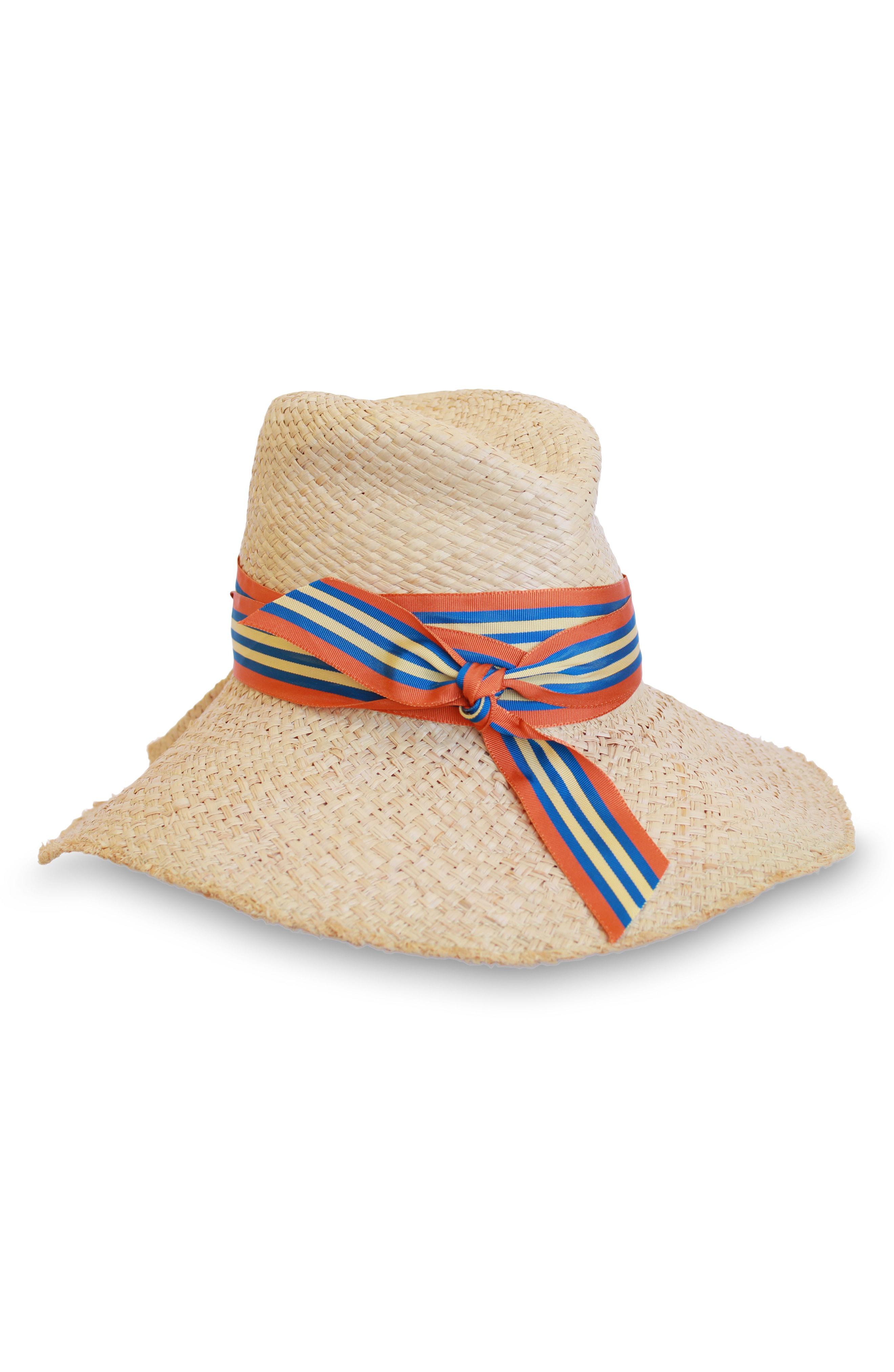 87677a088c8 Lyst - Lola Hats First Aid Striped Band Straw Hat