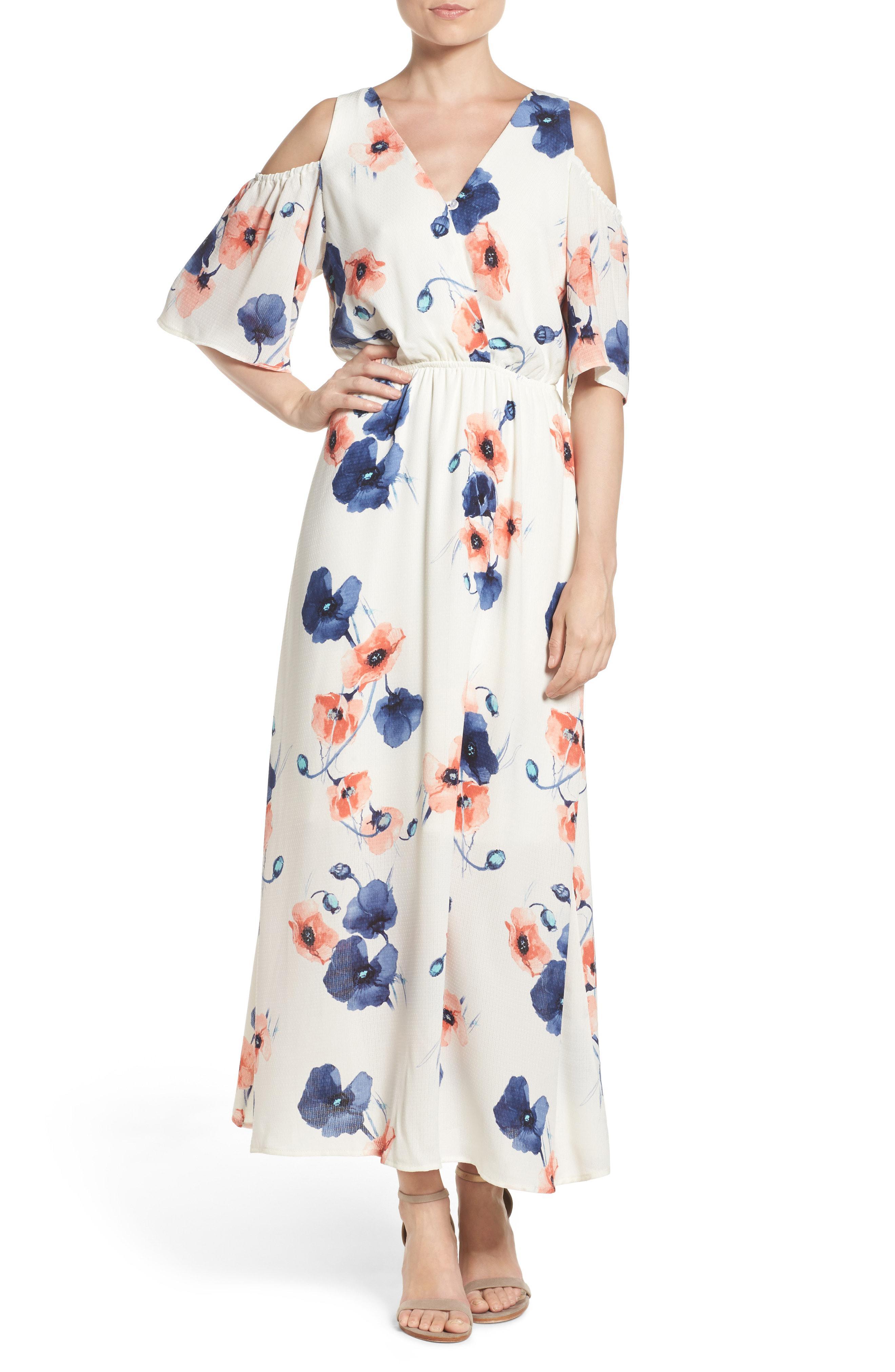 7fcec47f82 Lyst - Fraiche By J Cold Shoulder Maxi Dress in White