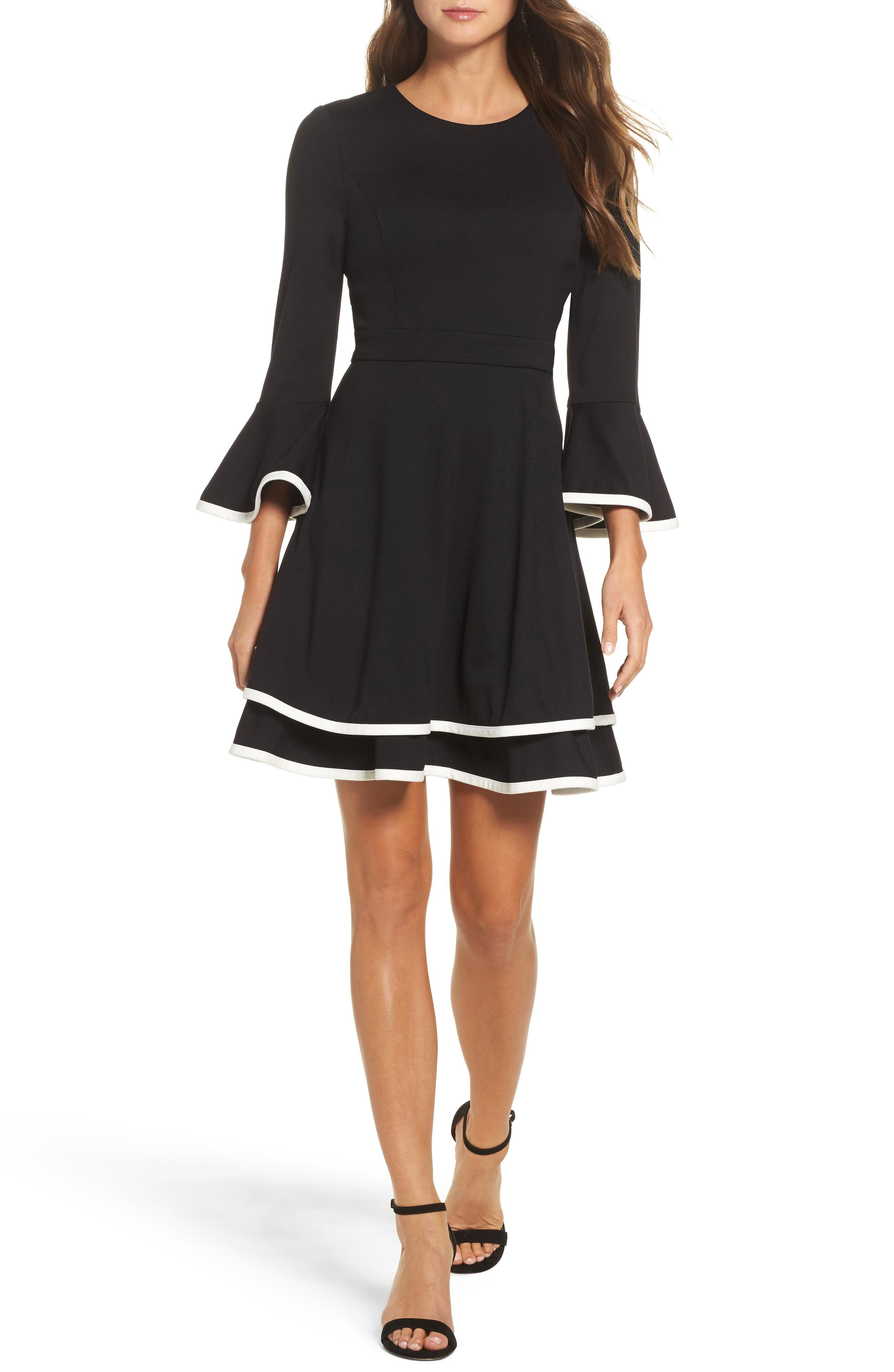 Bell Sleeve Tiered Fit Flare Dress