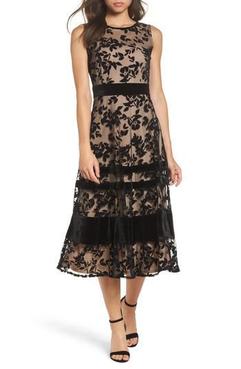 Lyst Taylor Dresses Burnout Velvet Midi Dress In Black