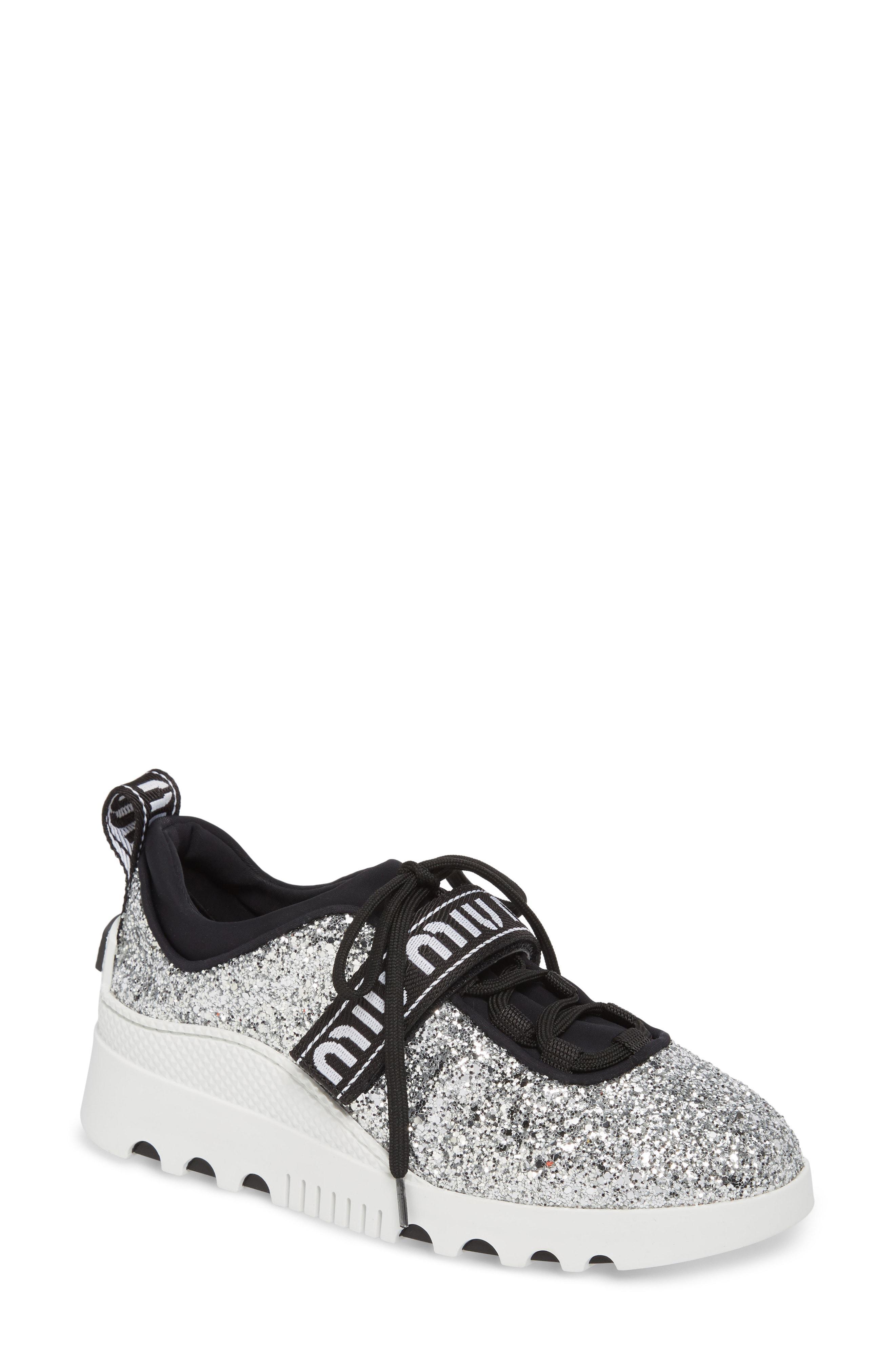 Lyst - Miu Miu Logo Strap Platform Sneaker in Metallic 5e48910d7e6