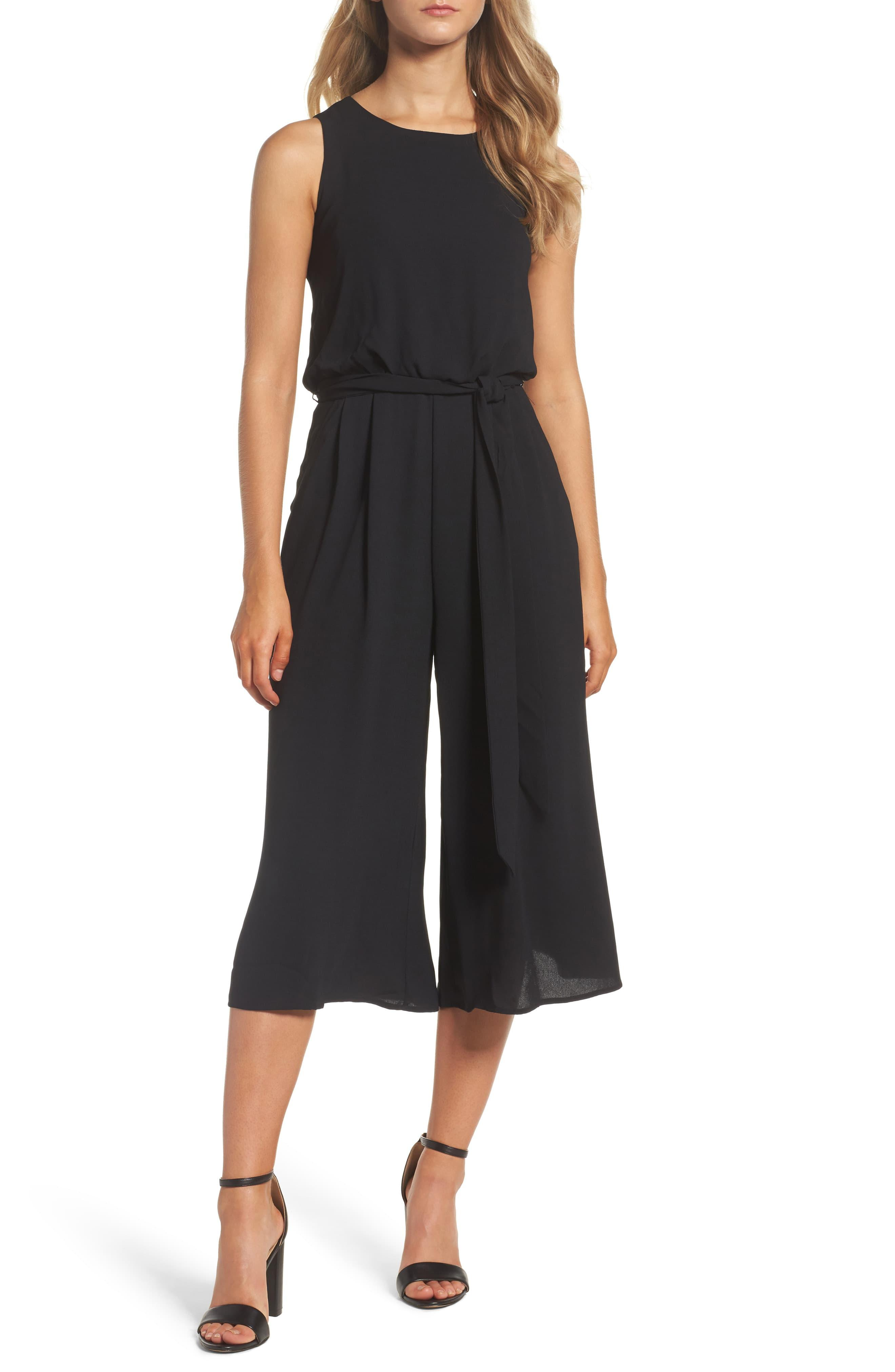 Vince Camuto Moss Crepe Wide Leg Jumpsuit in Black - Save ...