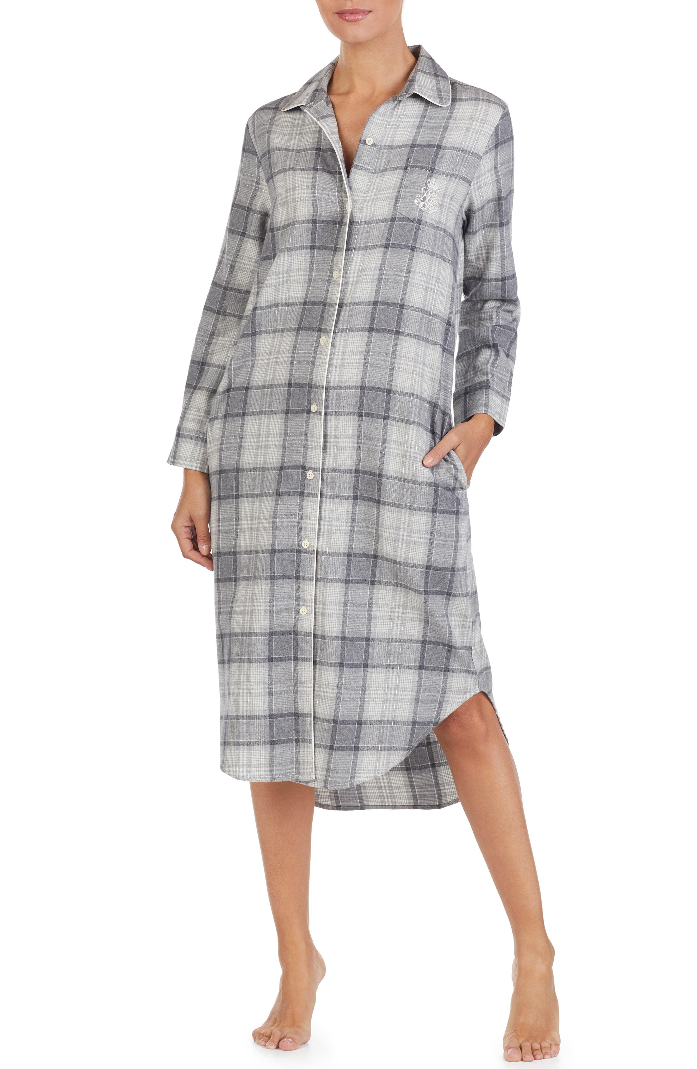 Lyst - Lauren By Ralph Lauren Plaid Flannel Sleep Shirt in Metallic 5c15cecf0