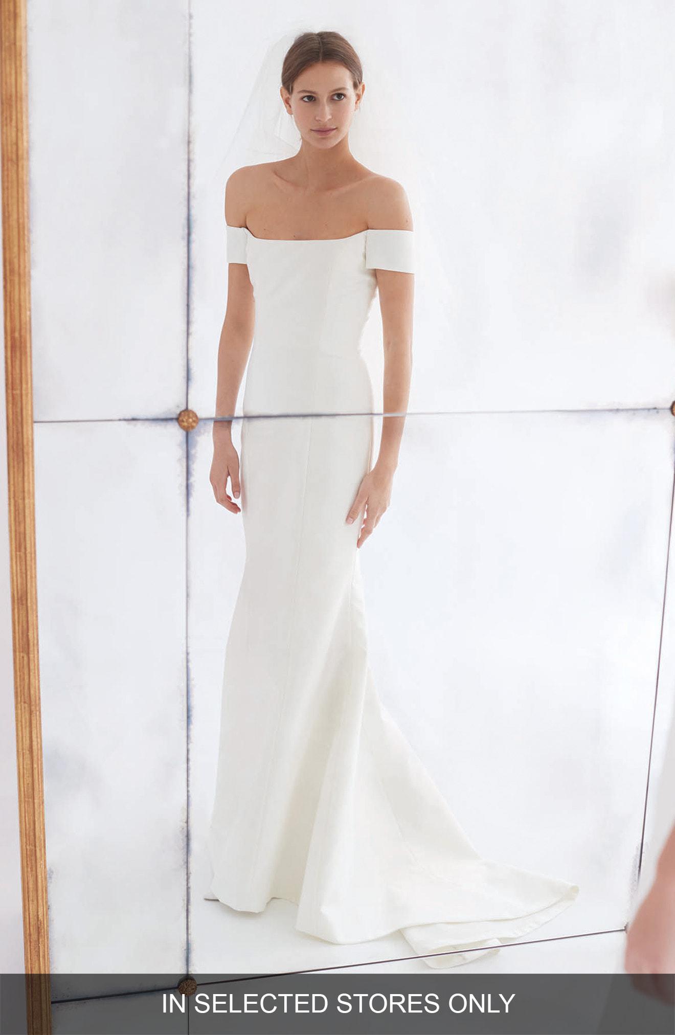 Carolina Herrera Women S White Greta Off The Shoulder Trumpet Gown