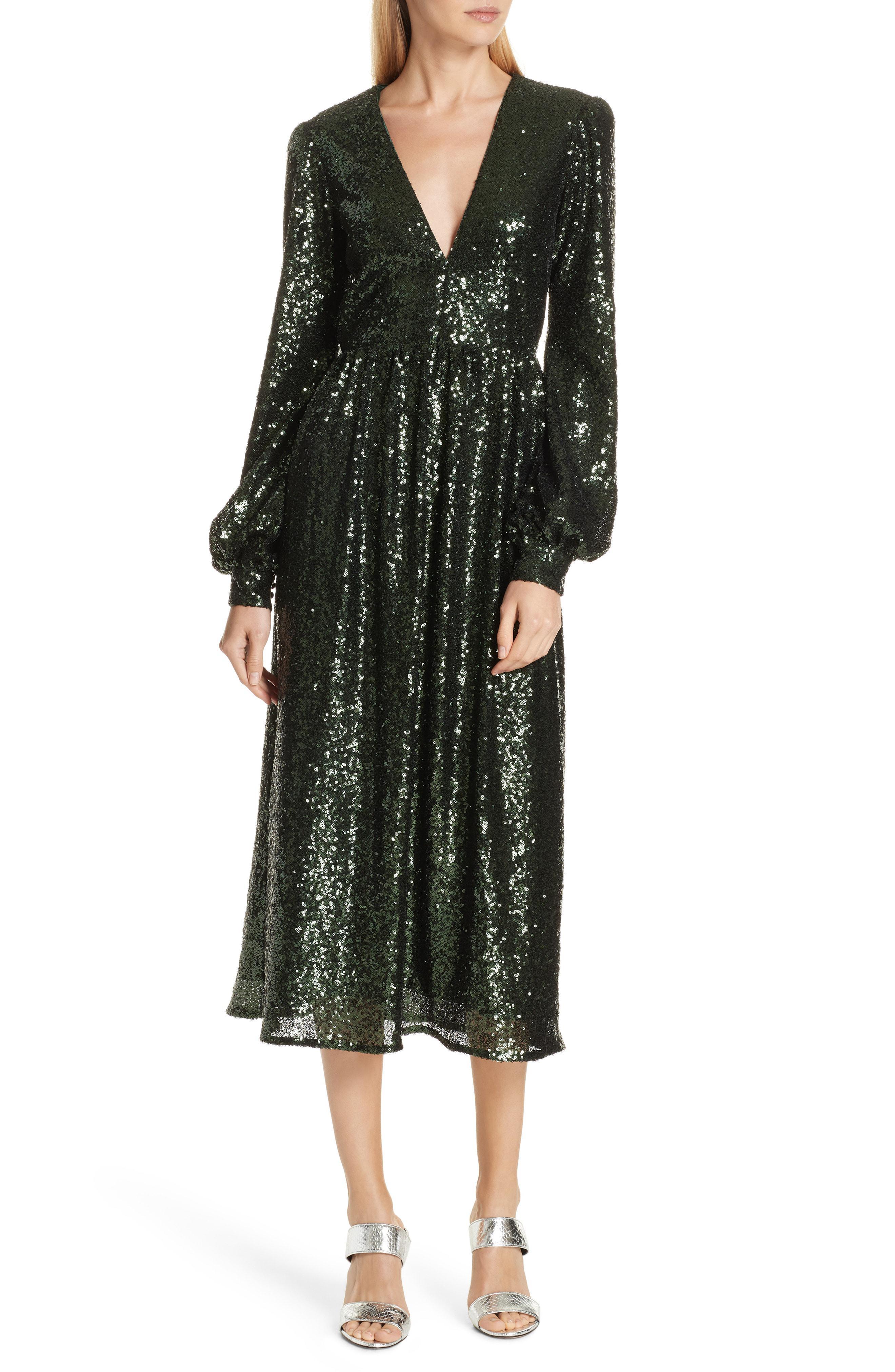 f6f963b939ea1 Lyst - Saloni Camille Sequin Midi Dress in Green