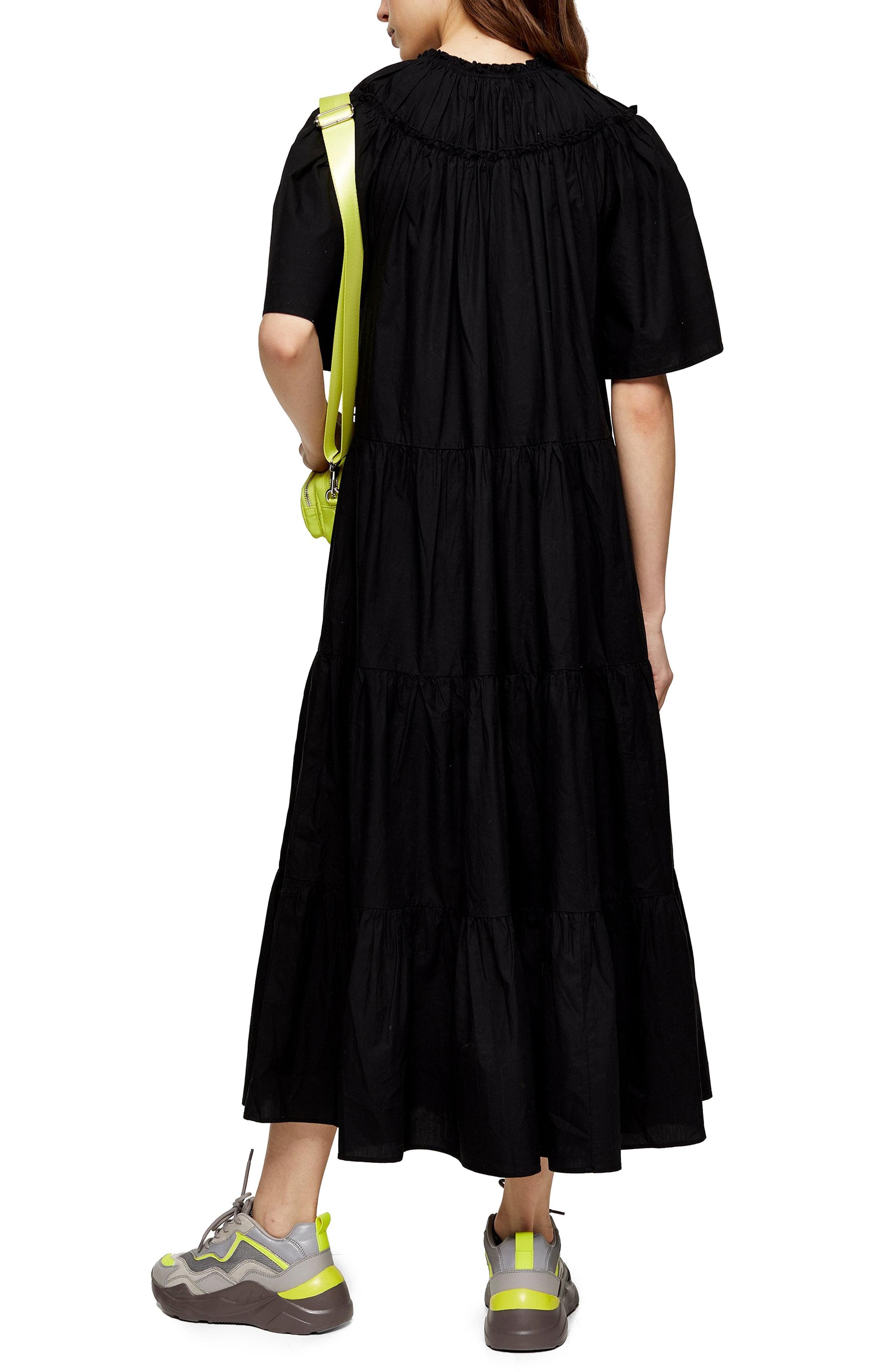 TOPSHOP Cotton Black Poplin Smock Midi Dress   Lyst