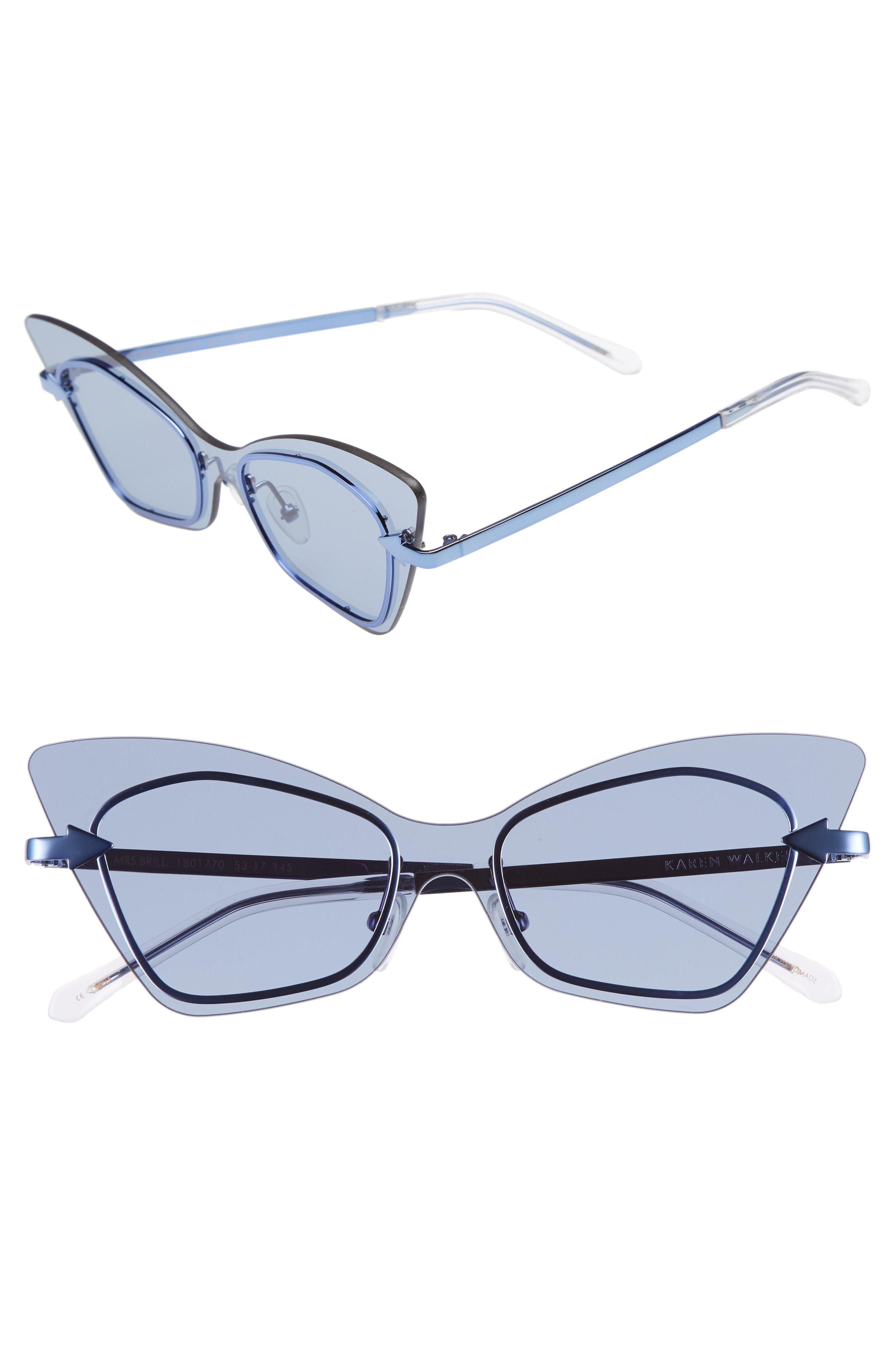 2c64a34e3589 Lyst - Karen Walker Mrs. Brill 53mm Cat Eye Sunglasses - Clear in Blue