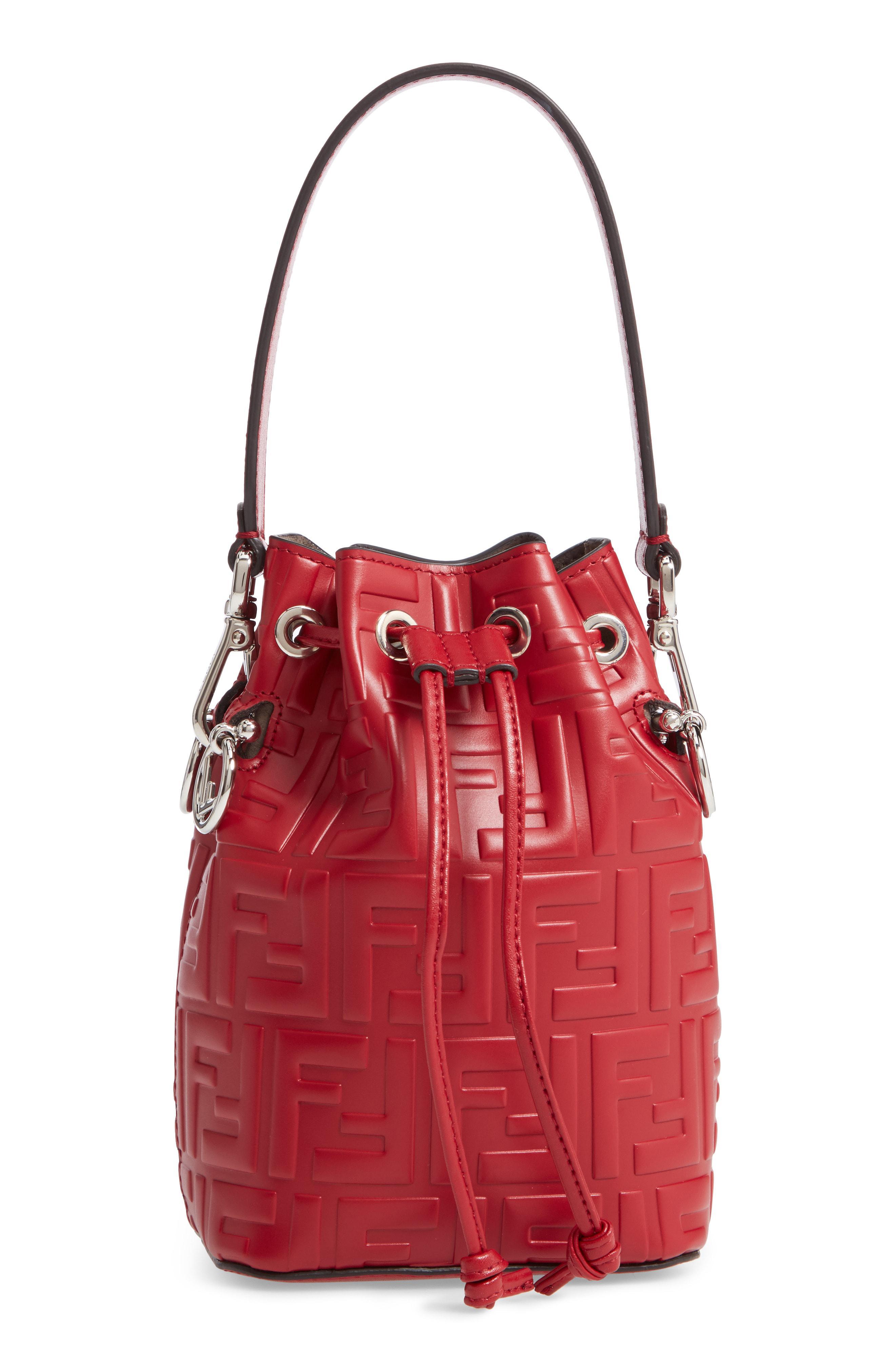 b47532715f Lyst - Fendi Mon Tresor Mini Leather Bucket Bag in Red