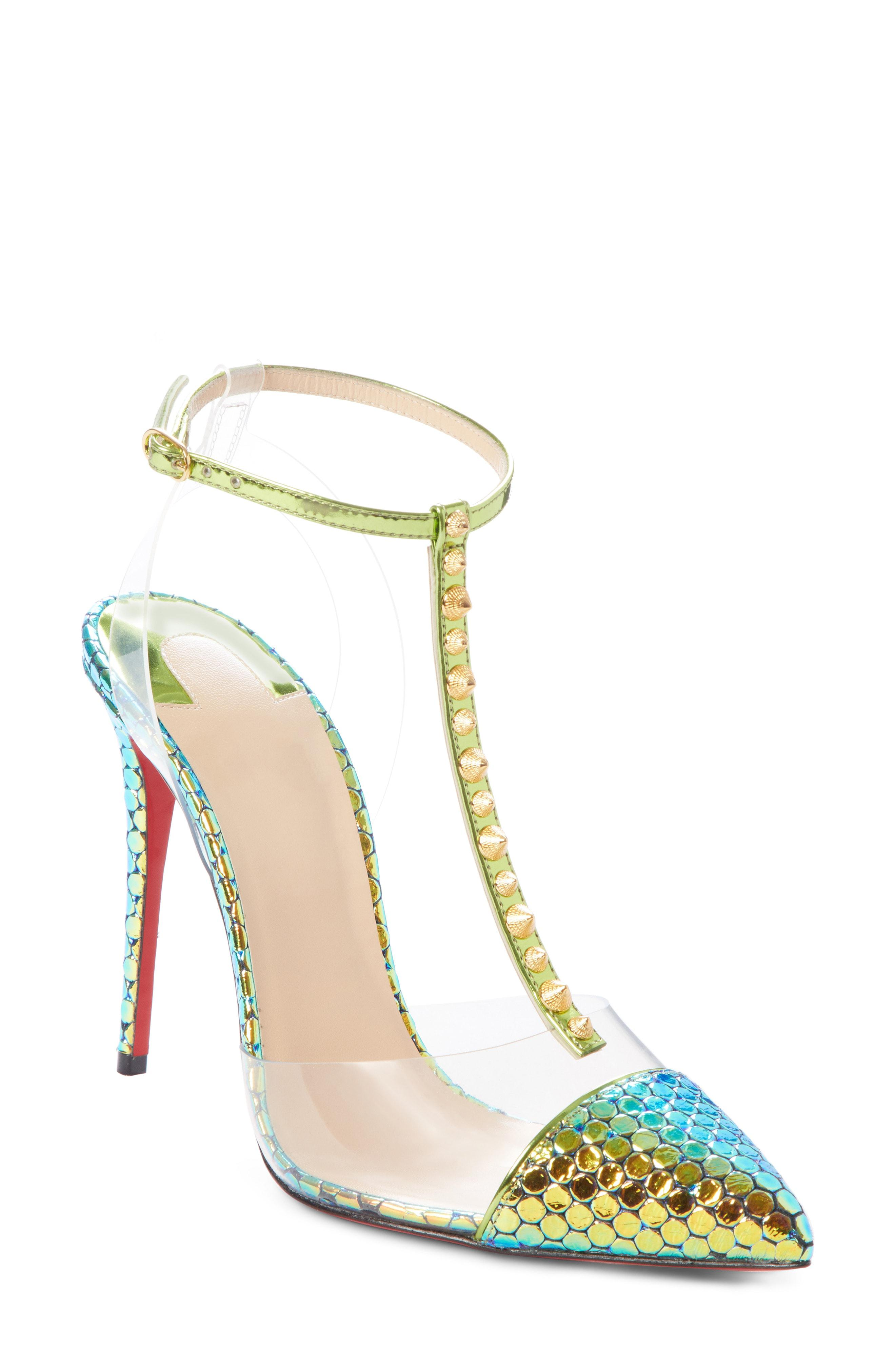 469d2987242d Christian Louboutin Nosy Spikes T-strap Pump in Green - Lyst