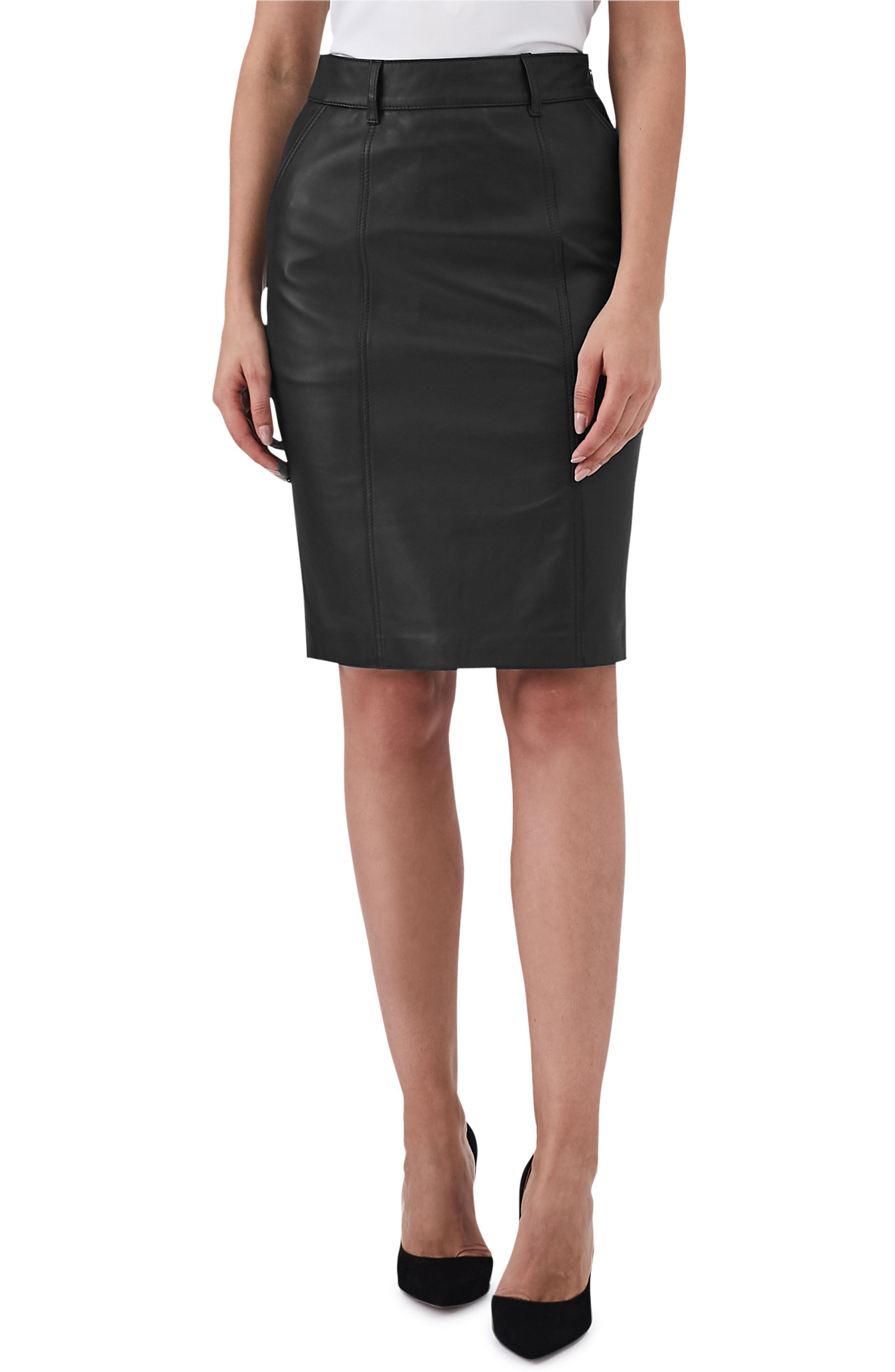 bb4c021e2f Lyst - Reiss Kara Leather Pencil Skirt in Black