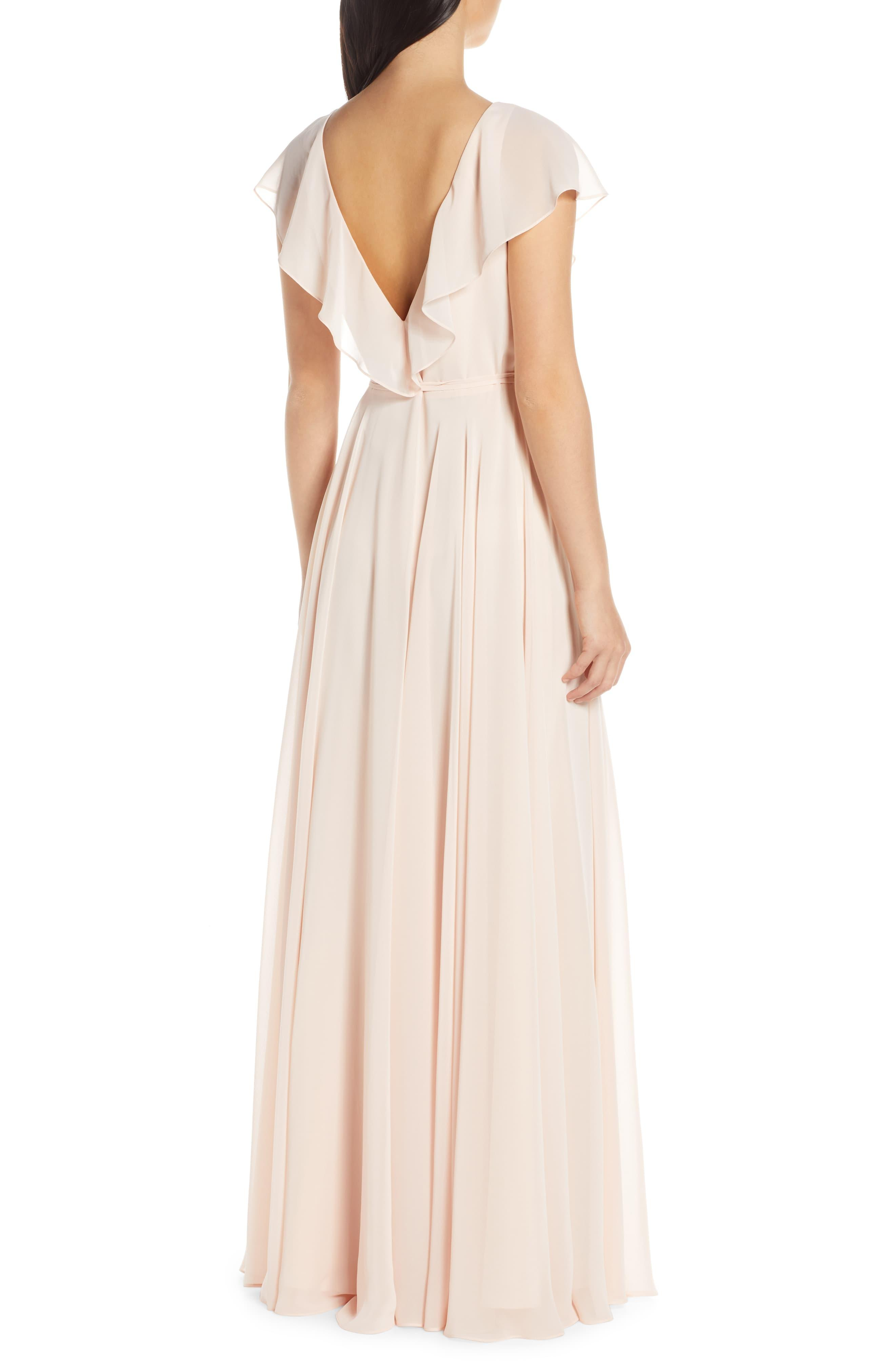 fe2770db086 Jenny Yoo - Blue Faye Ruffle Wrap Chiffon Evening Dress - Lyst. View  fullscreen