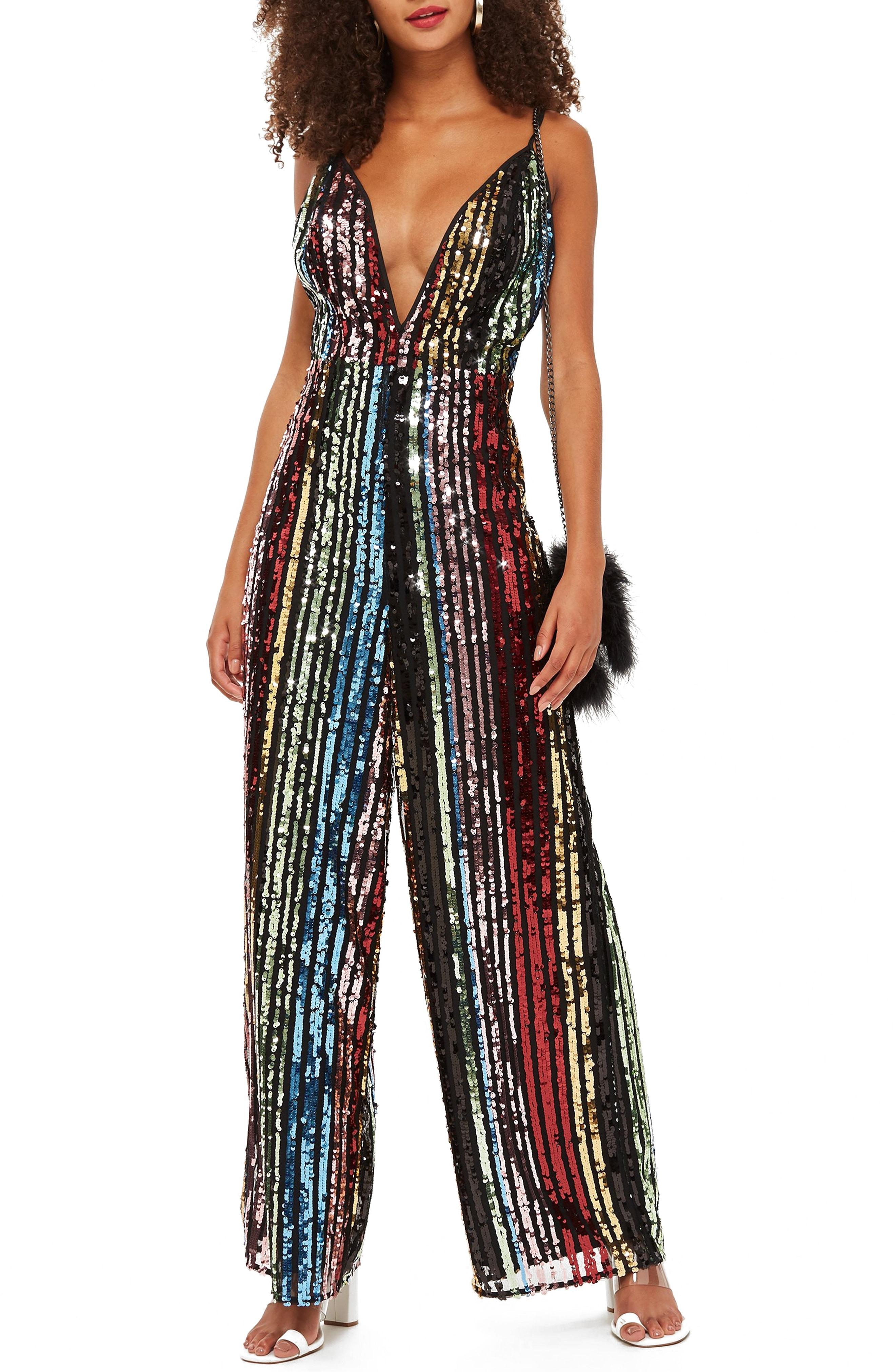 52bf4b182e7 Lyst - TOPSHOP Rainbow Sequin Jumpsuit in Black