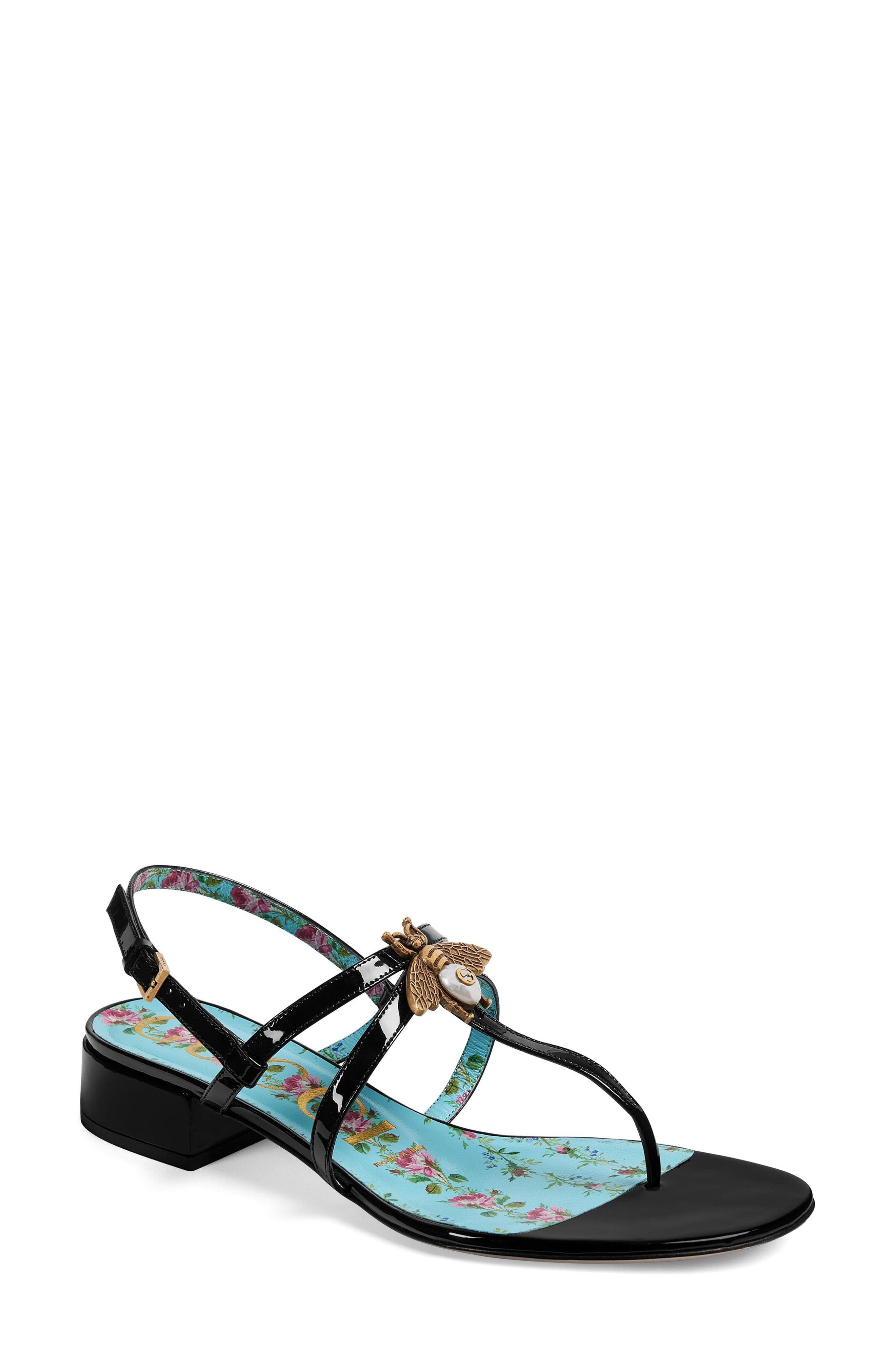 f3a338065d7 Lyst - Gucci Bee Thong Sandal in Black