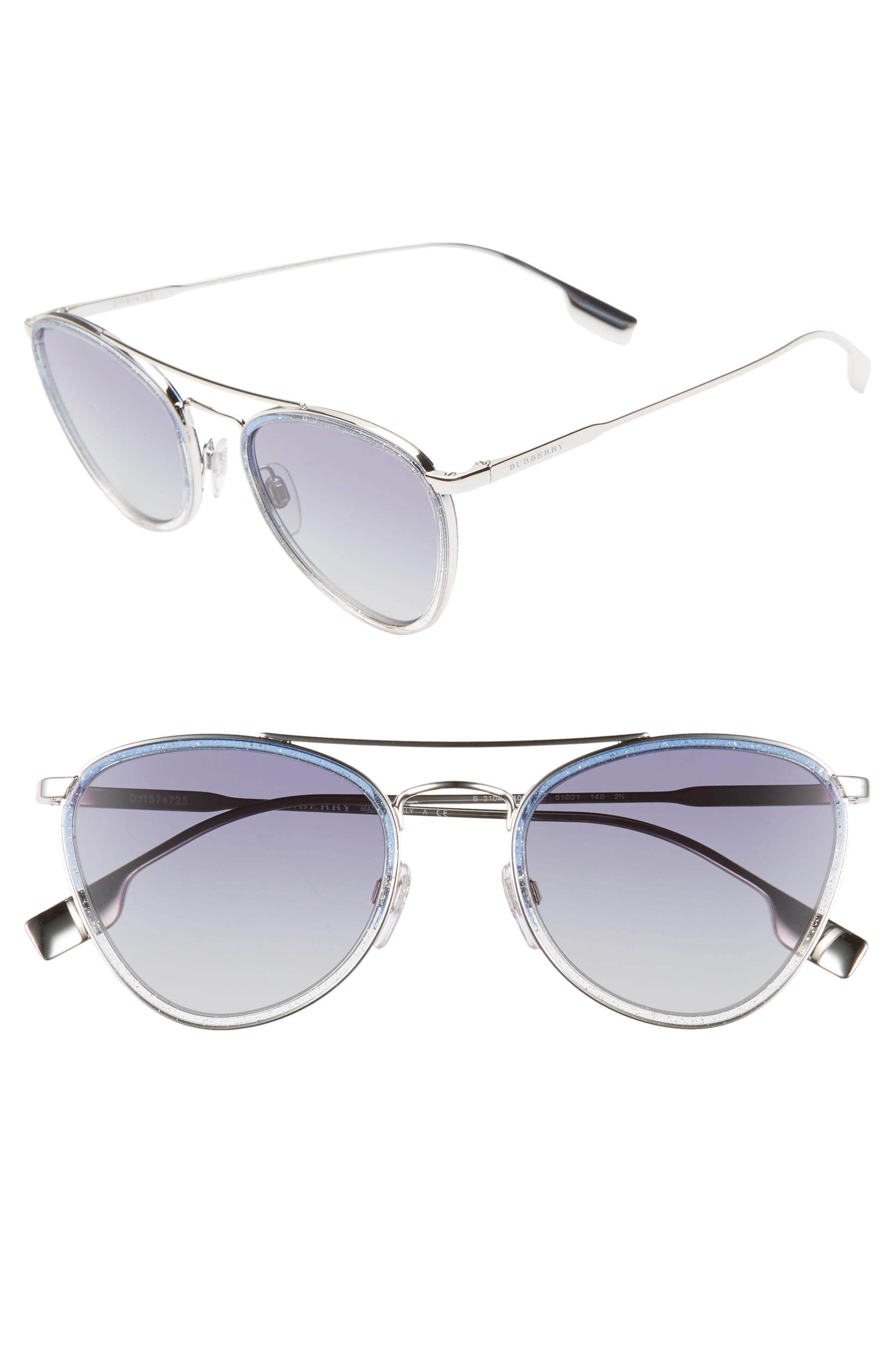 364e0cb685bde Lyst - Burberry 51mm Aviator Sunglasses in Metallic