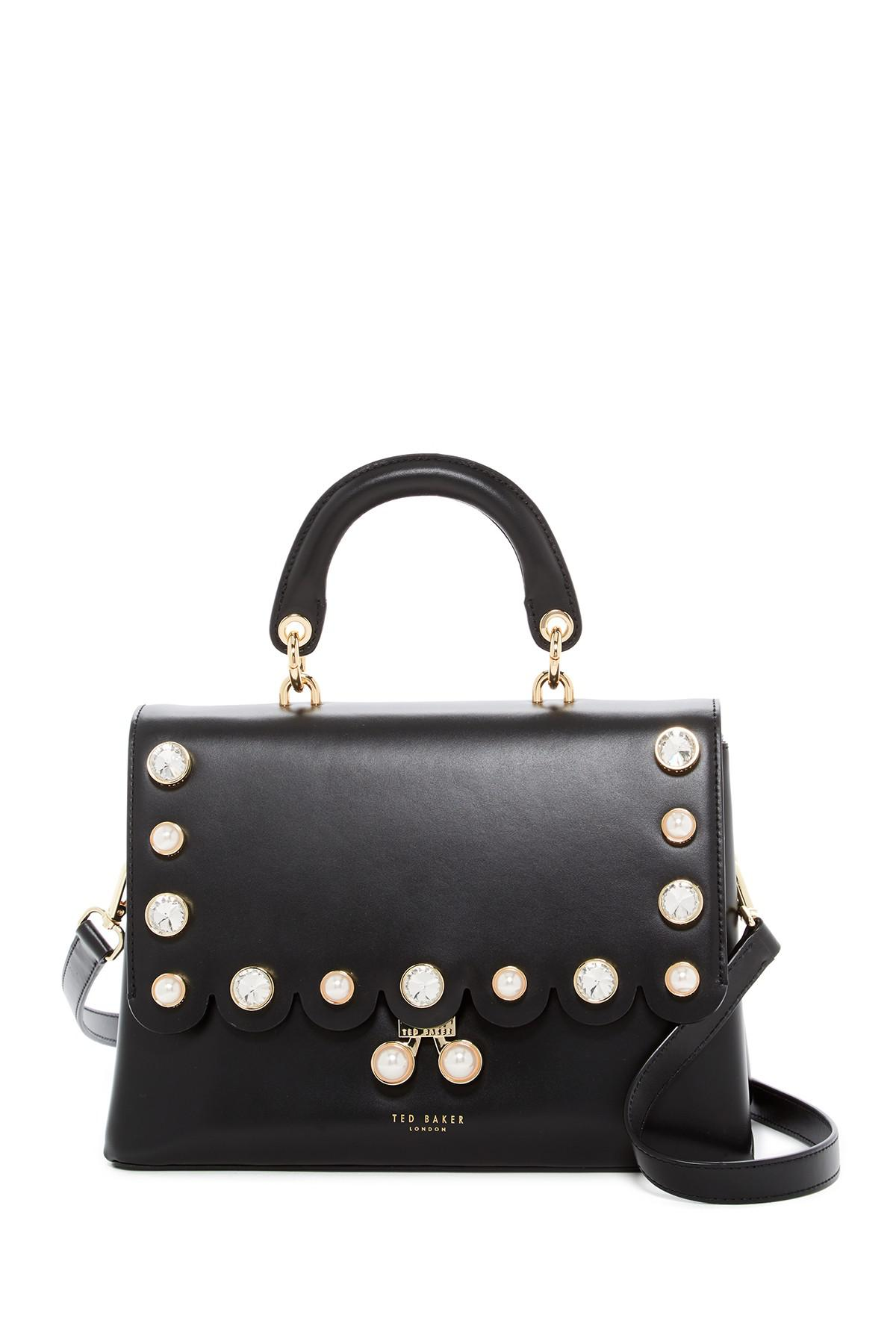 0c8a95e4d Lyst - Ted Baker Sylviaa Scalloped Leather Shoulder Bag in Black
