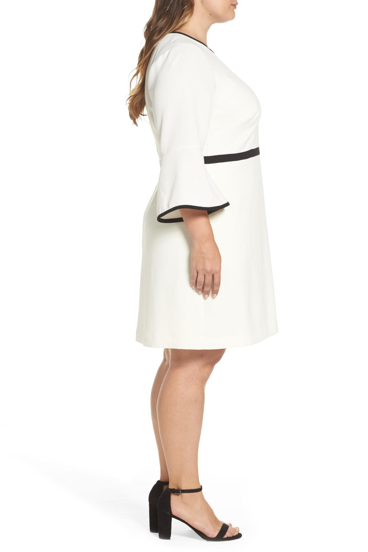 Eliza J Bell Sleeve Fit Amp Flare Dress In Ivory Black