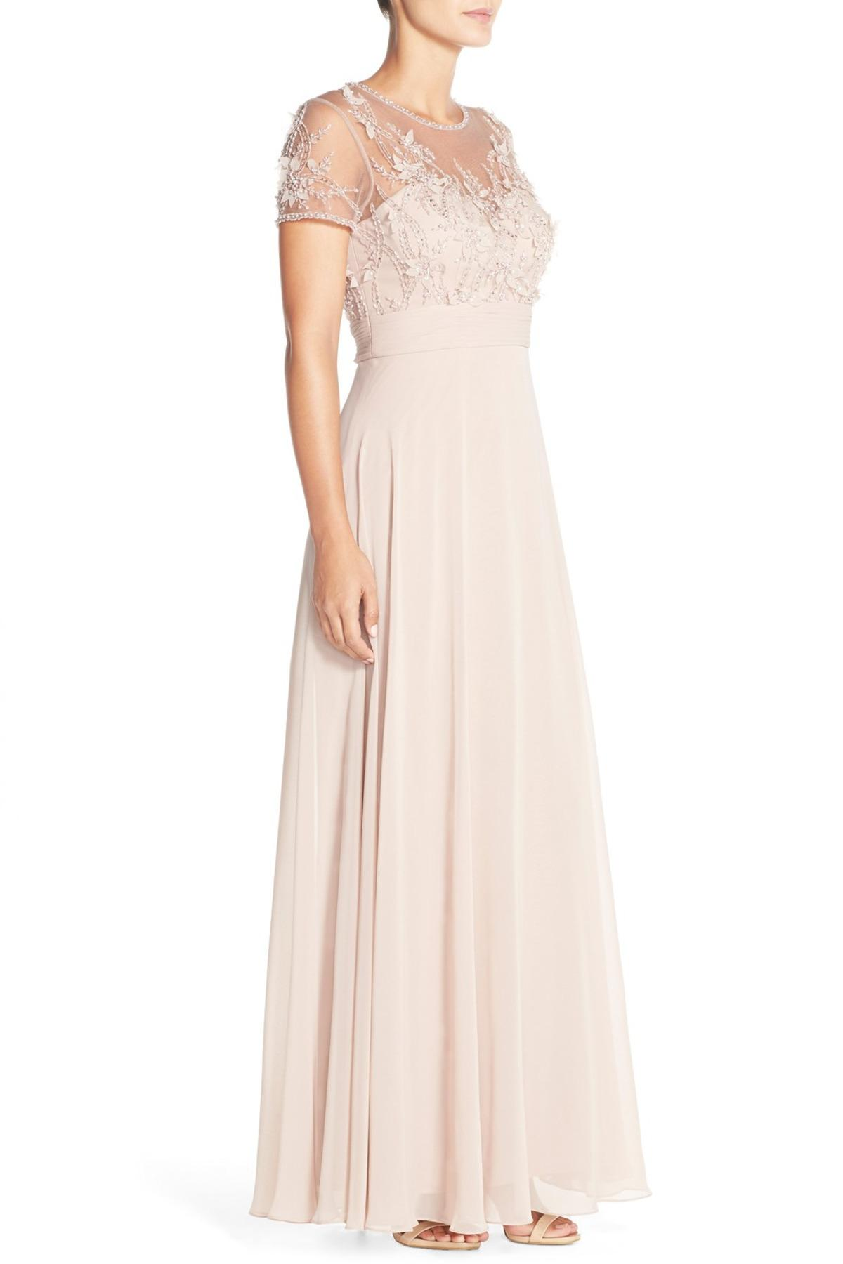 Lyst - Js Collections Embellished Mesh & Chiffon Gown in Pink