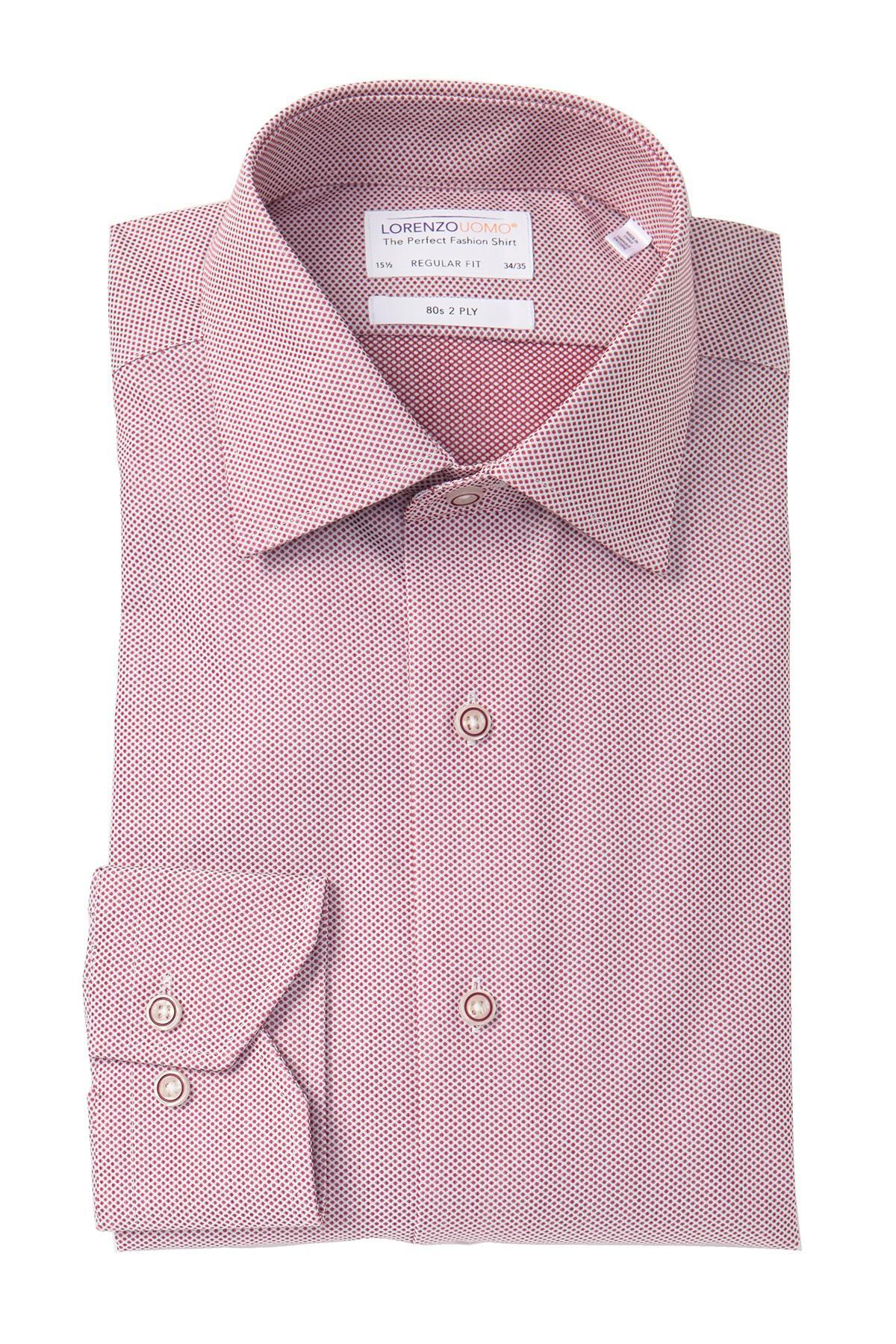 Lorenzo Uomo Cotton Textured Dots Regular Fit Dress Shirt
