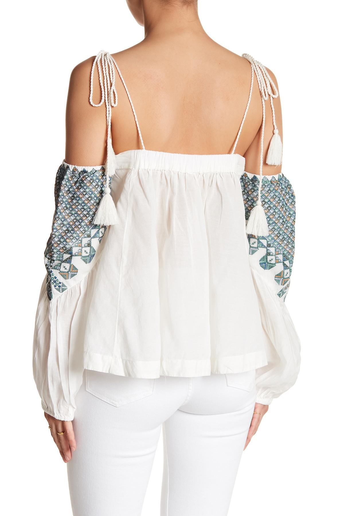 3617d2905ca8a Lyst - Free People Vacay Vibin  Cold Shoulder Top in White