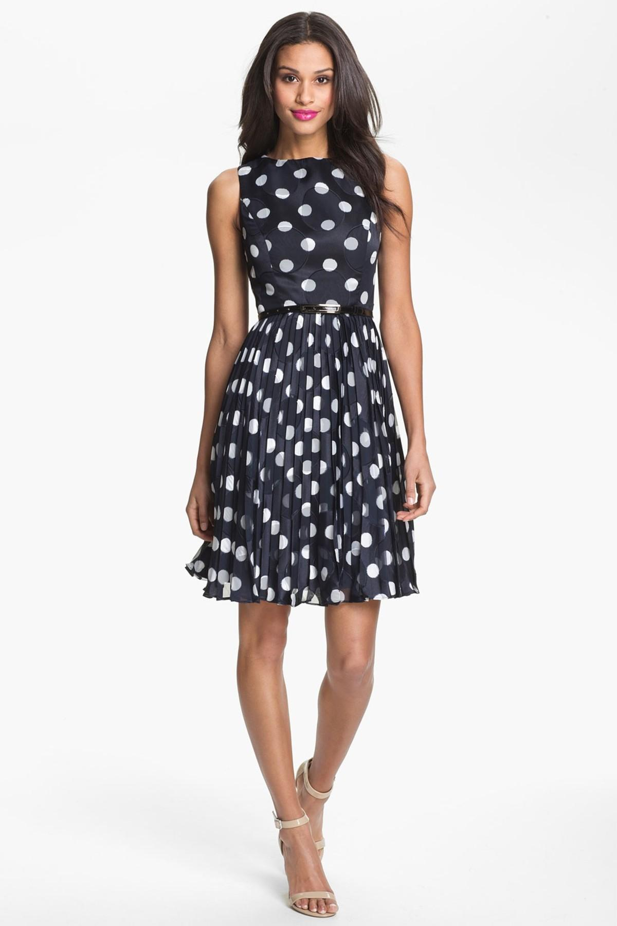 Adrianna Papell Burnout Polka Dot Fit Amp Flare Dress In