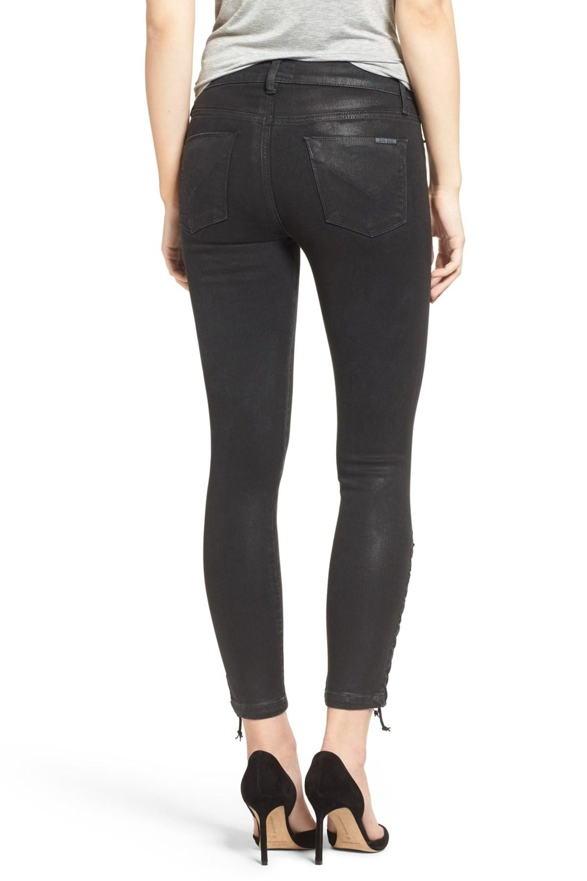 Hudson Jeans Womens Nix High Rise Lace Hem Crop 5 Pocket Jean