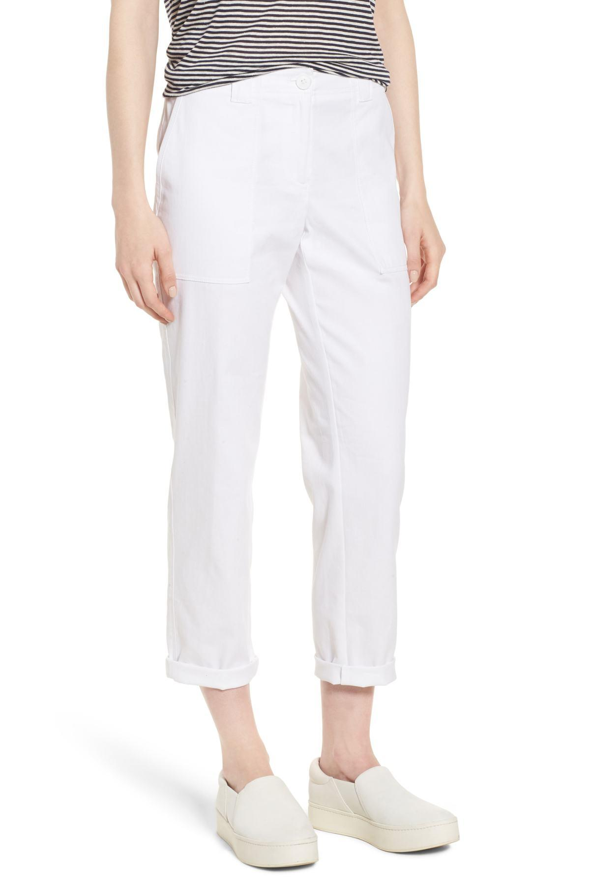 fcebc921216 Lyst - Nordstrom Stretch Cotton   Linen Ankle Pants in White - Save ...