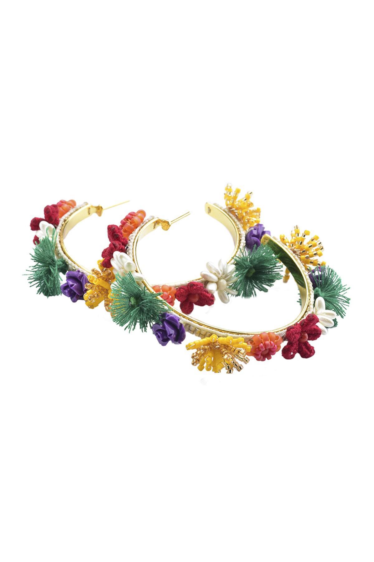 Lyst Mishky Beaded Morobia Hoop Earrings In Metallic