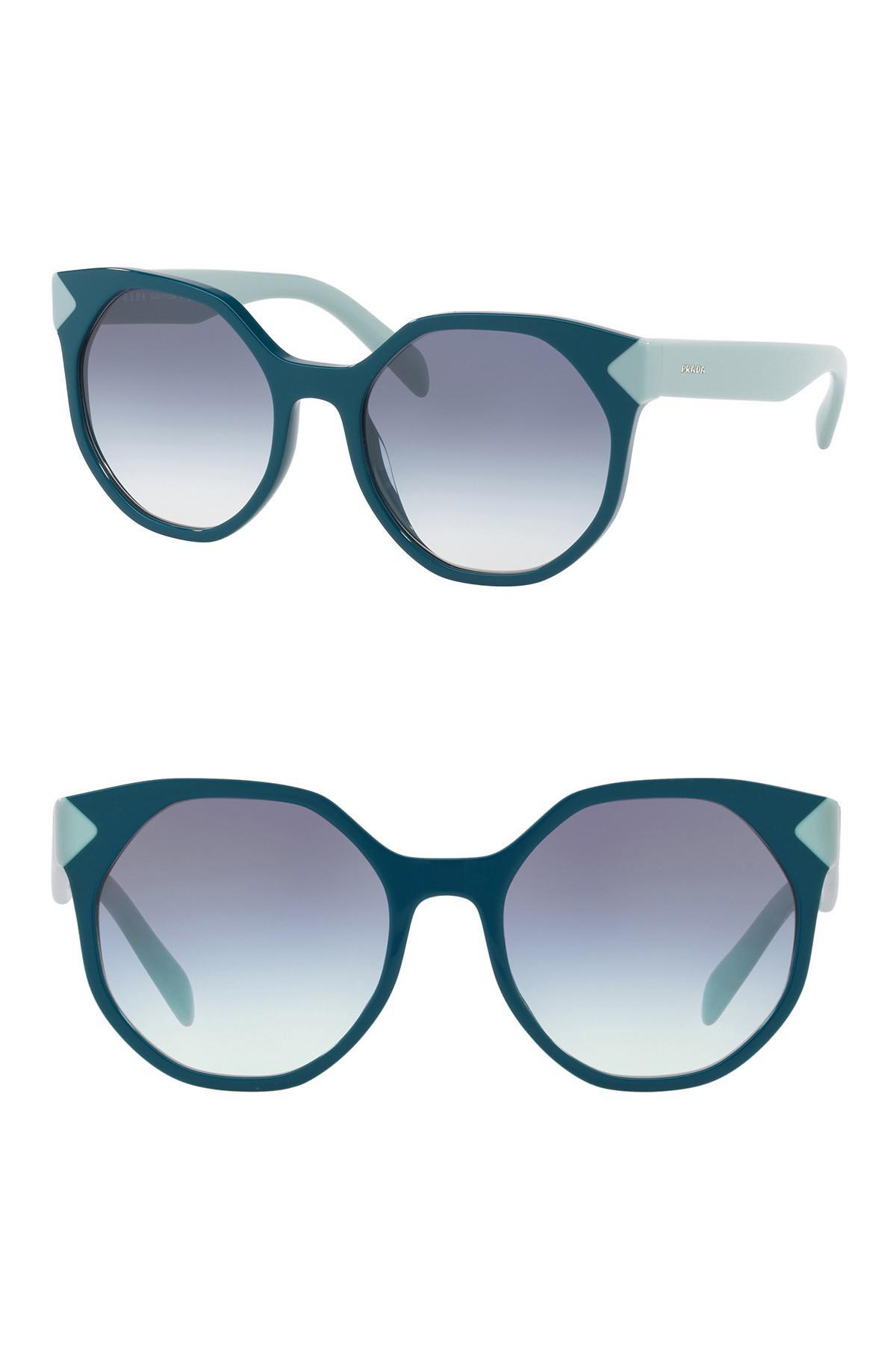 9e75c8c47202 Prada - Green 55mm Geo Round Cat Eye Sunglasses for Men - Lyst. View  fullscreen