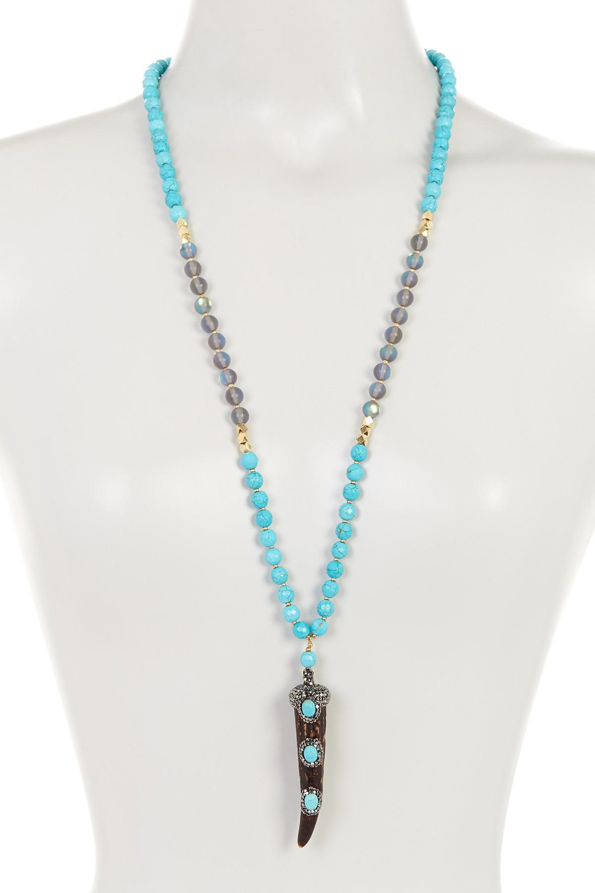 Panacea Carved Pendant Necklace w/ Dangles, Turquoise