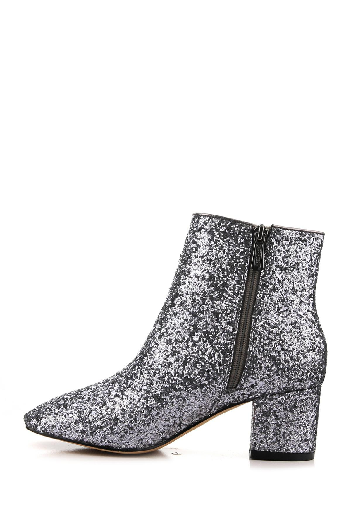 Cape Robbin Tal 1 Pewter Glitter Chunky Block Heeled Short Glitter Ankle Boots
