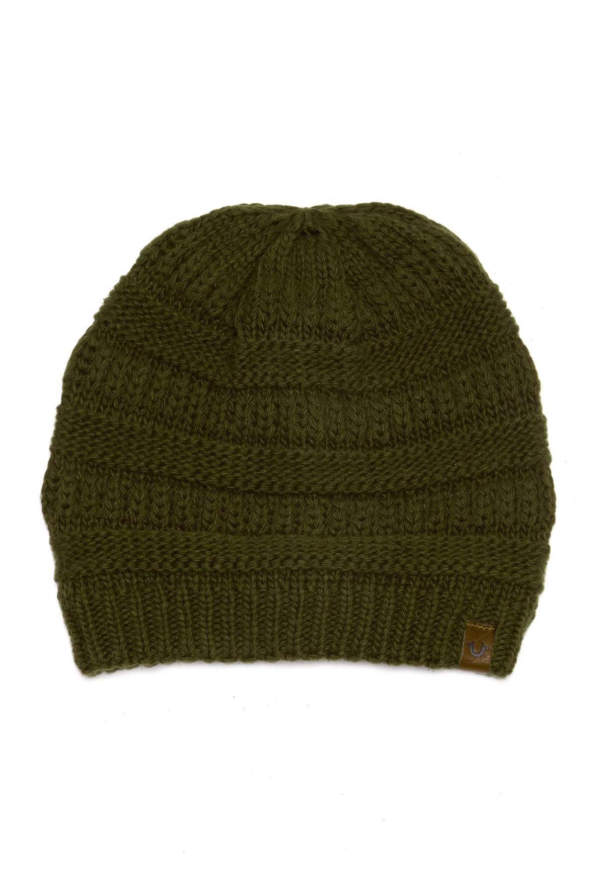 1ef5d908a3121 Lyst - True Religion Chunky Ribbed Knit Beanie in Green for Men