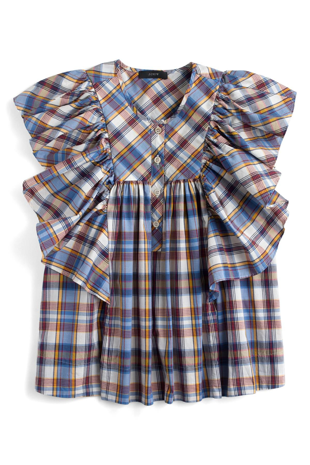 ede2566a Lyst - J.Crew J.crew Danny Hula Plaid Top (regular & Petite) in Blue