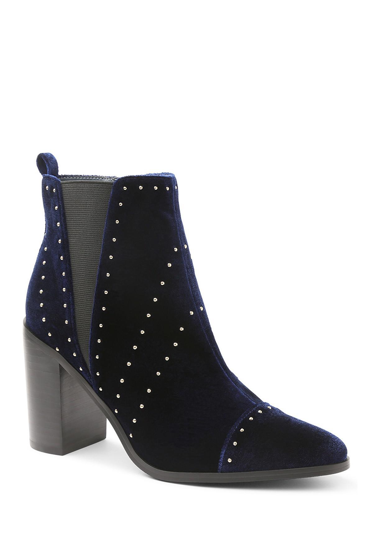 Lyst Kensie Delanie Studded Block Heel Bootie In Blue