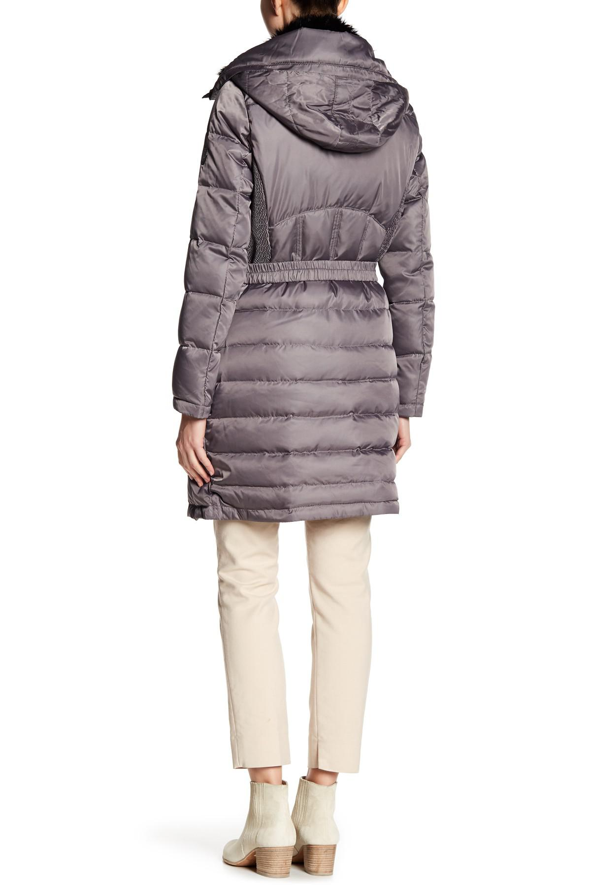 Vince Camuto Faux Fur Collar Duck Down Belted Jacket Lyst