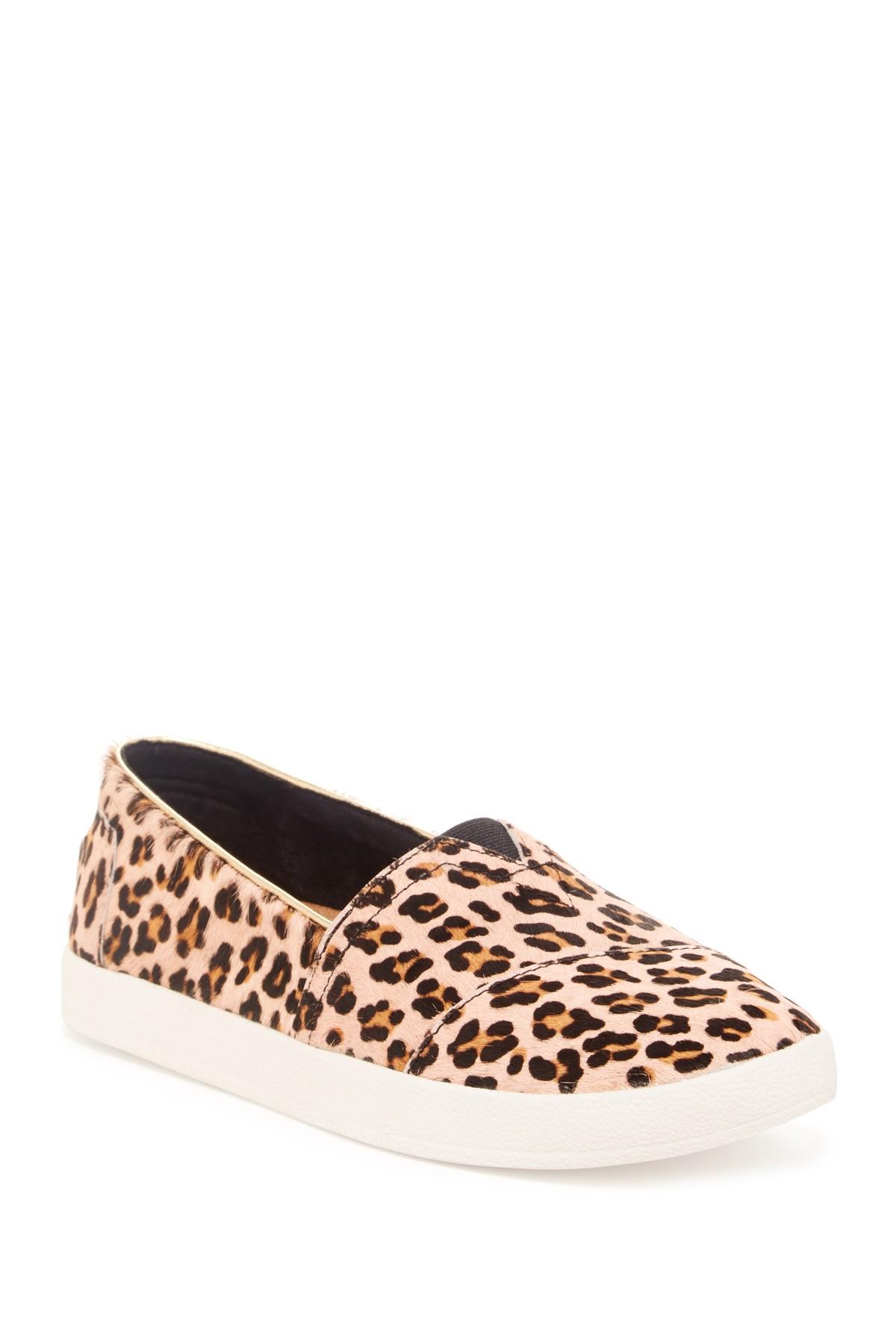85ef03ceed85 Lyst - TOMS Leopard Printed Genuine Calf Hair Slip-on Sneaker