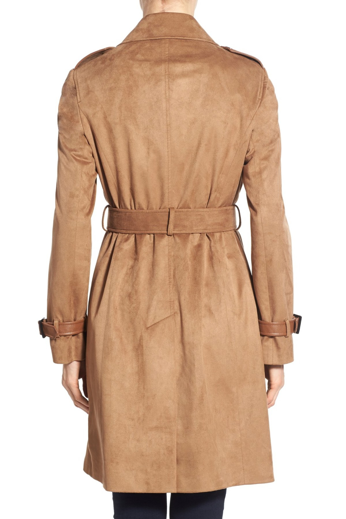 Via Spiga Double Breasted Faux Suede Trench Coat In Blue