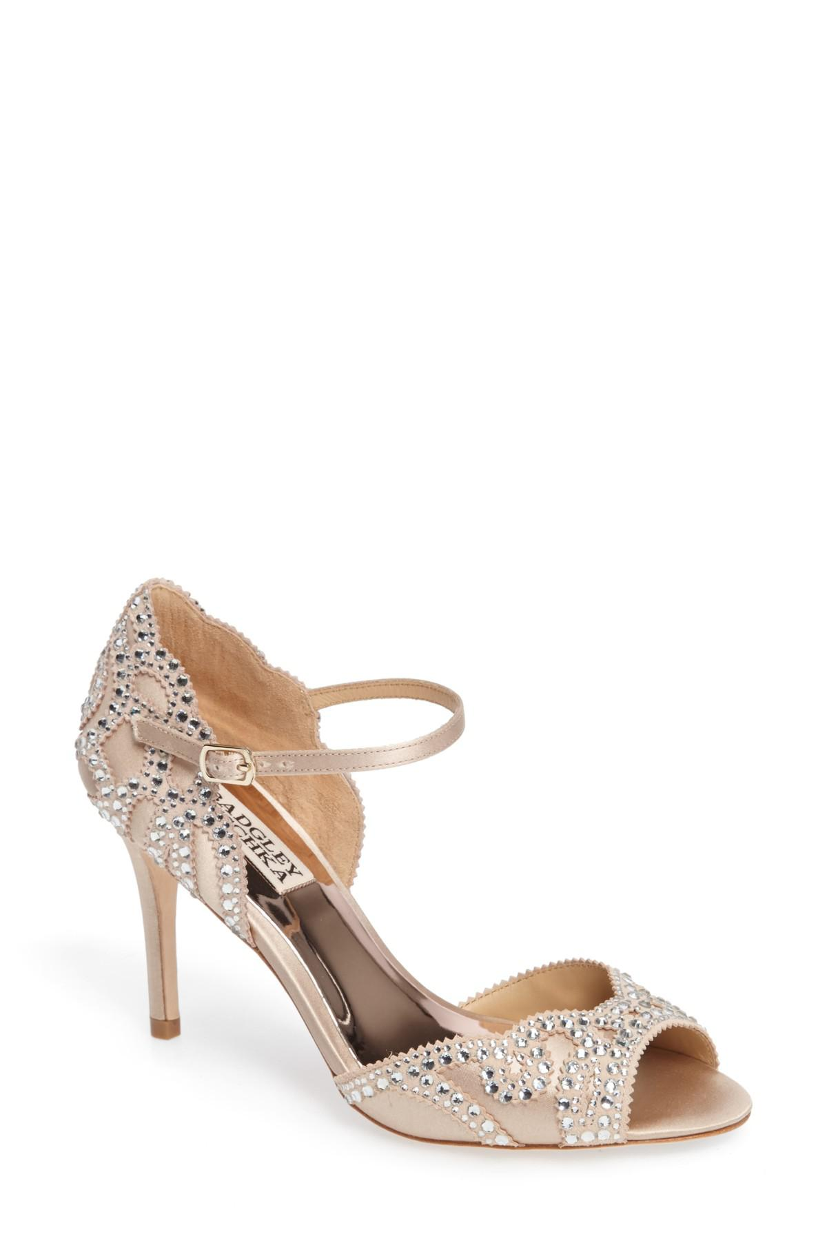eec94fd0050e Lyst - Badgley Mischka Belinda Ankle Strap Pump in Natural