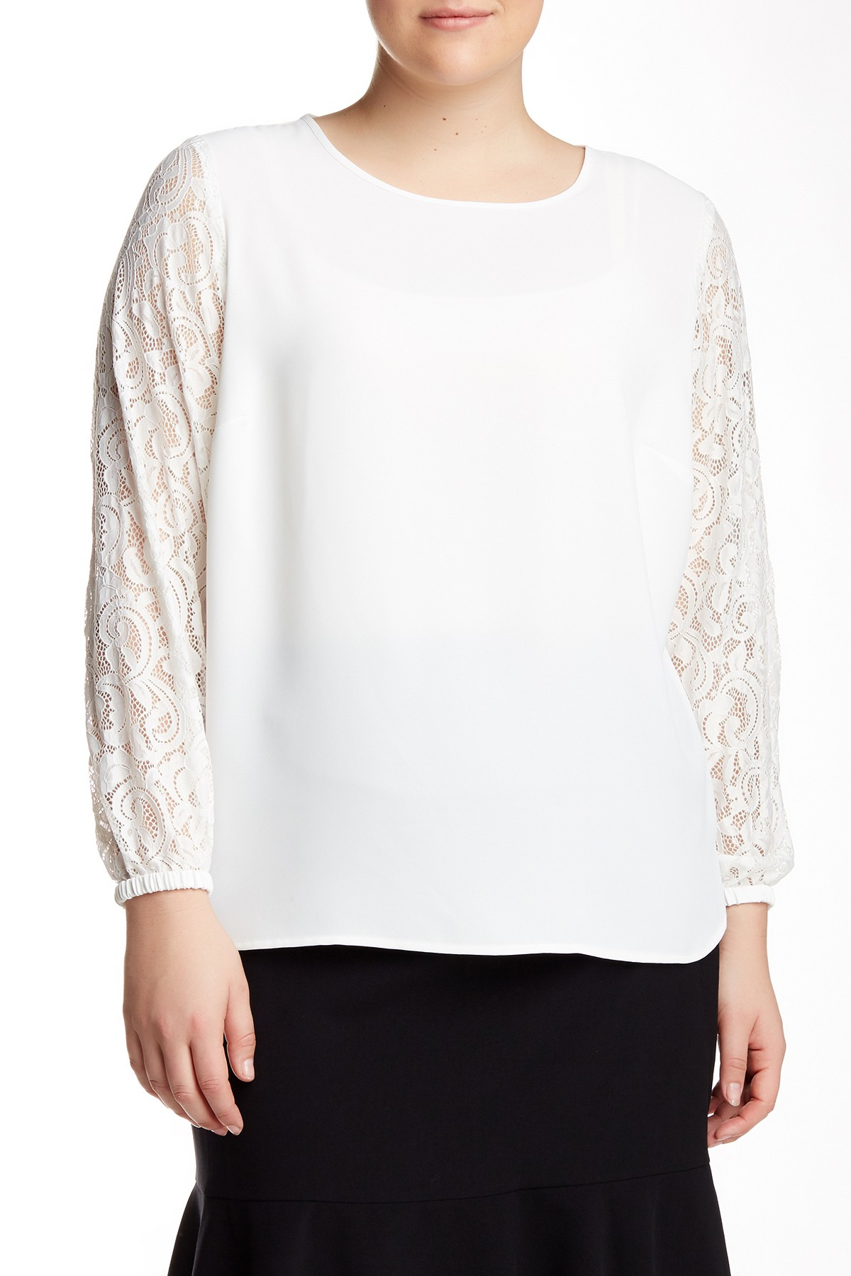 Lyst Nine West Mixed Media Blouse Plus Size In White