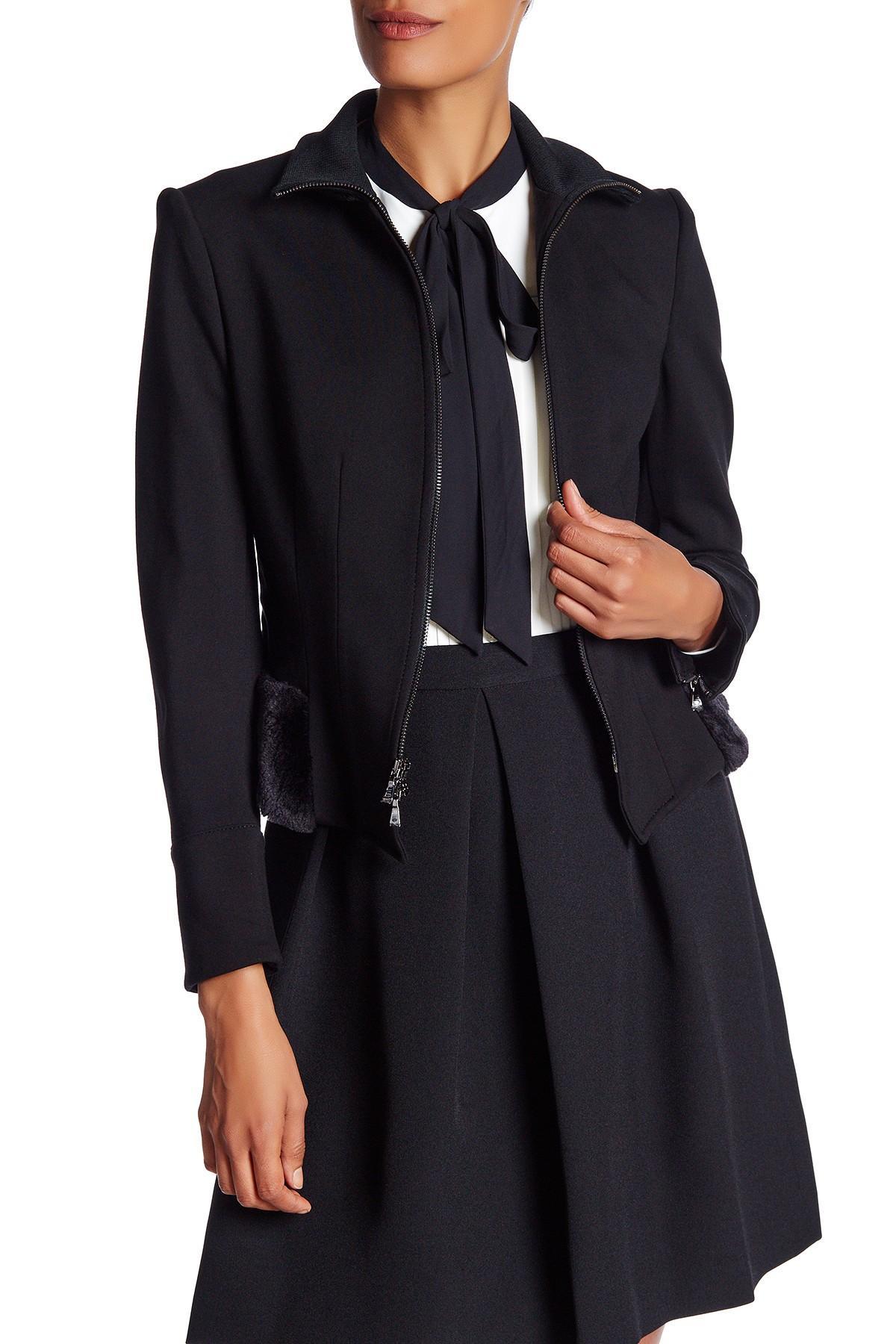 Lyst Anne Klein Faux Fur Trim Peplum Jacket In Black