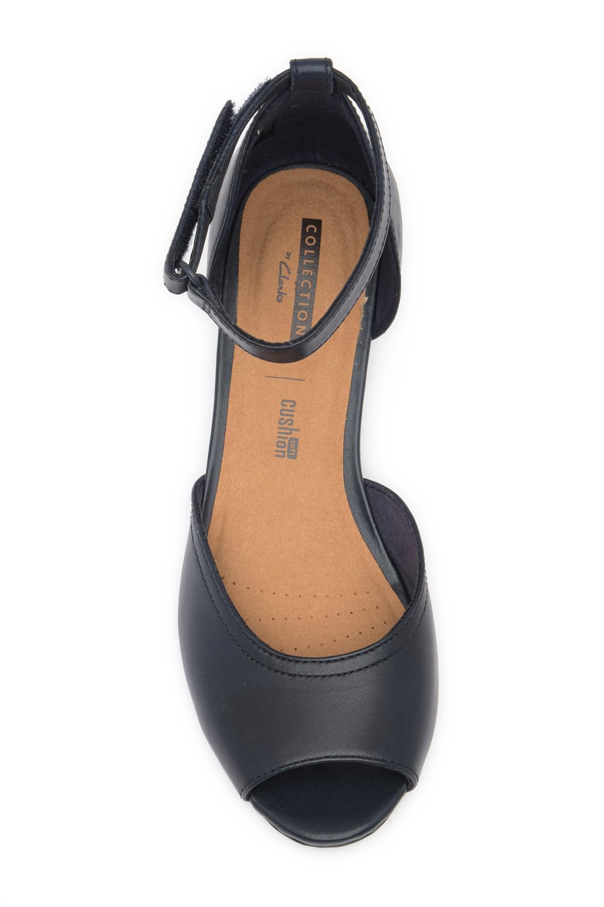 10945935849 Lyst - Clarks Flores Raye Leather Wedge Sandal - Wide Width ...
