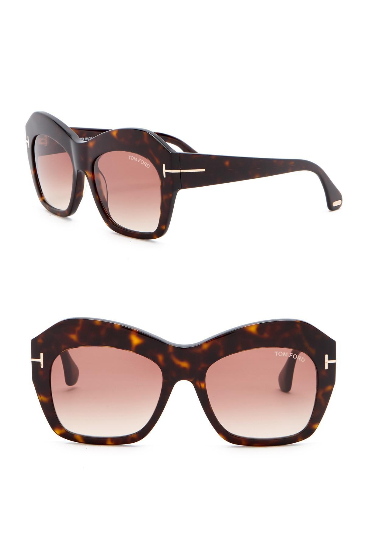 ac0a24520a7 Tom Ford - Brown Emmanuelle 54mm Square Sunglasses - Lyst. View fullscreen